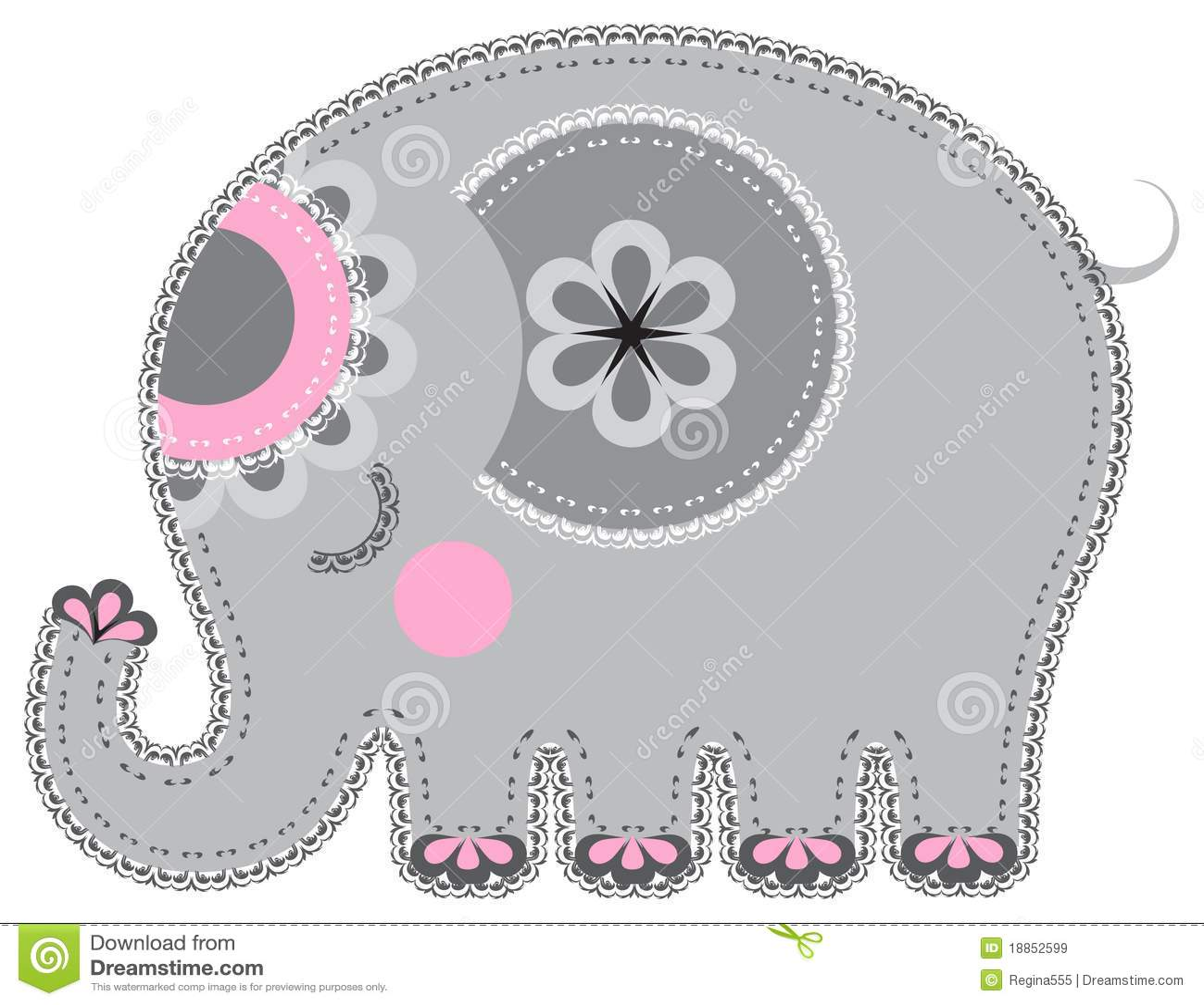 Fabric animal cutout. Elephant