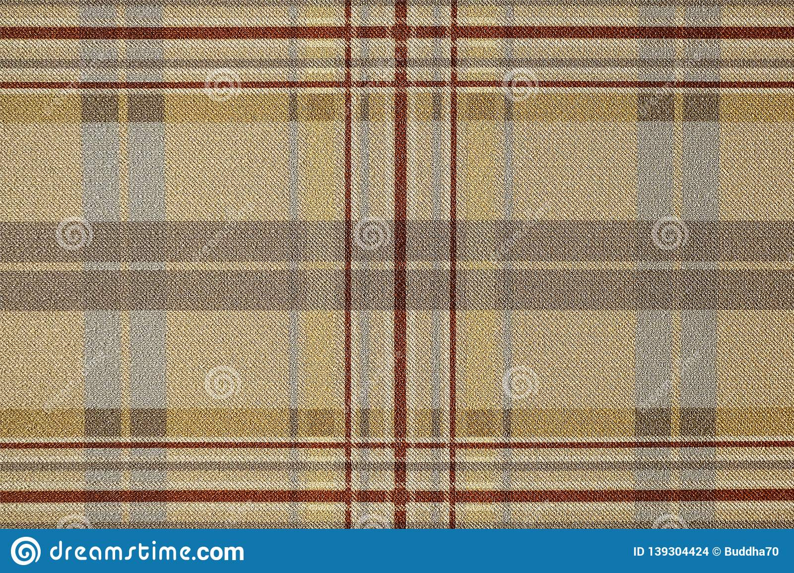 Fabric brown plaid. Brown check pattern. Tartan design as background. Checked fabric.