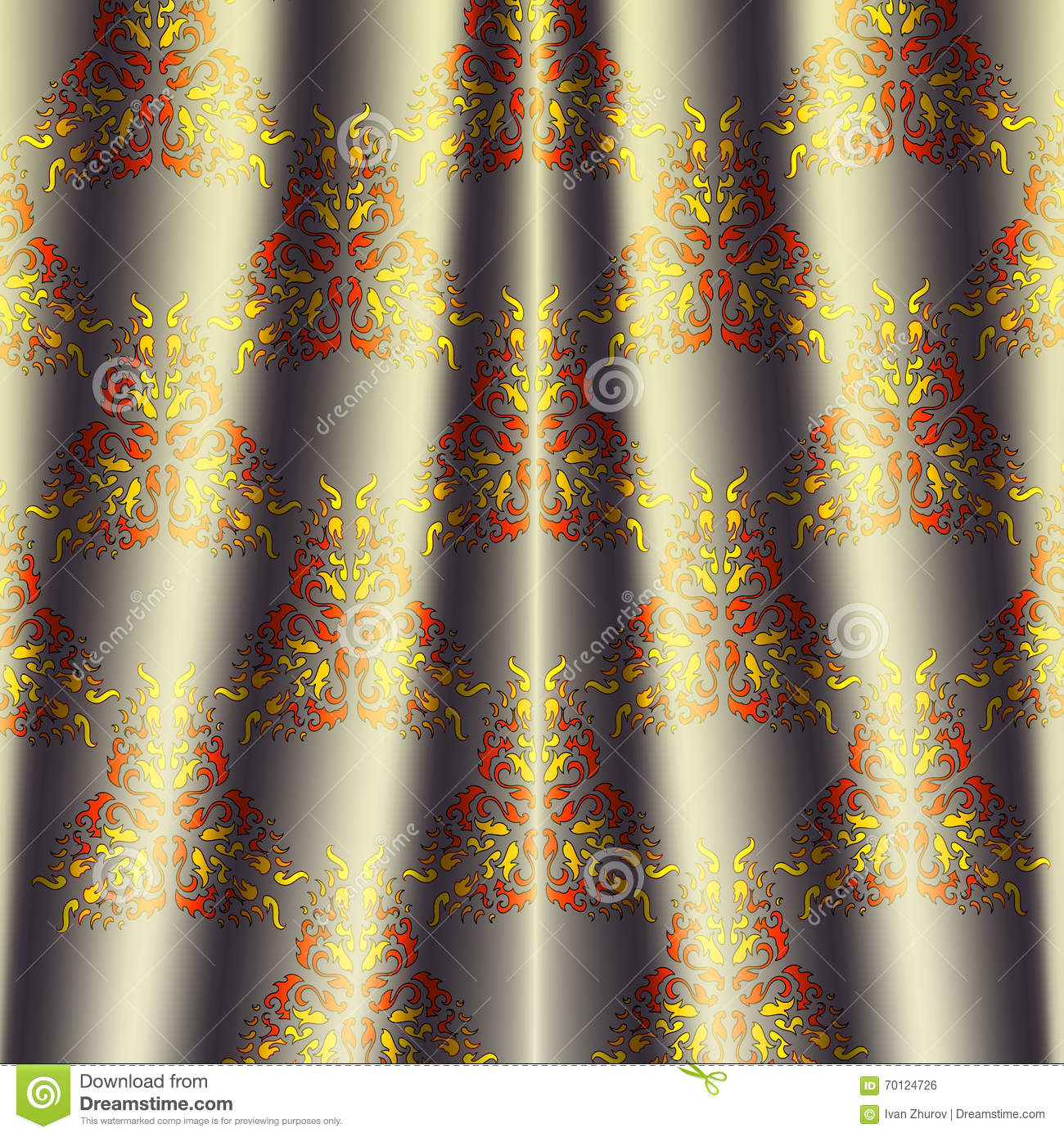 Fabric Cream Colored Curtain With Black Red Fire Pattern