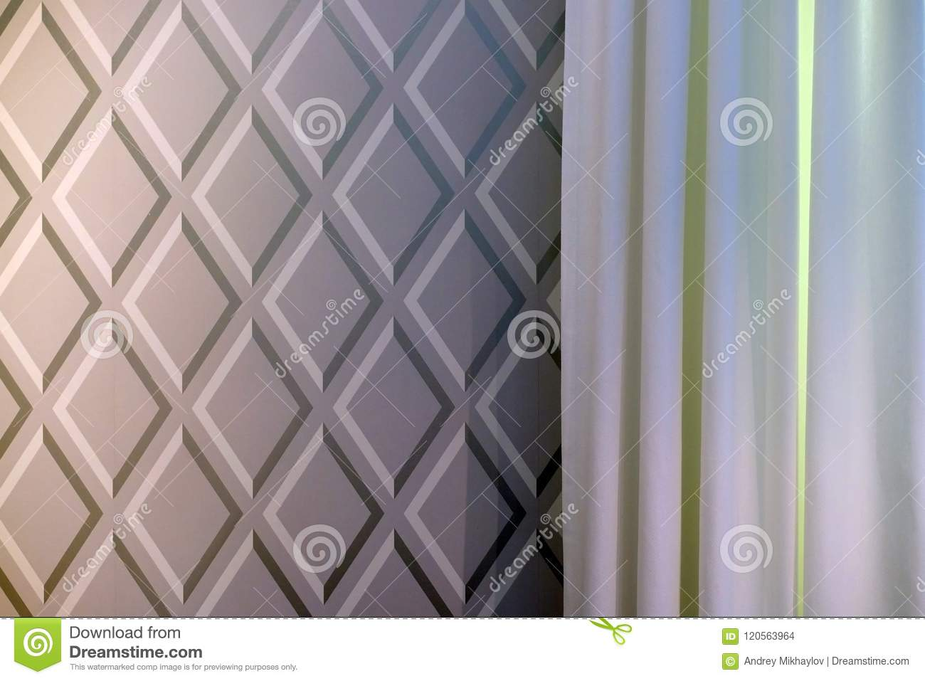 Fabric curtains dark and light colors.
