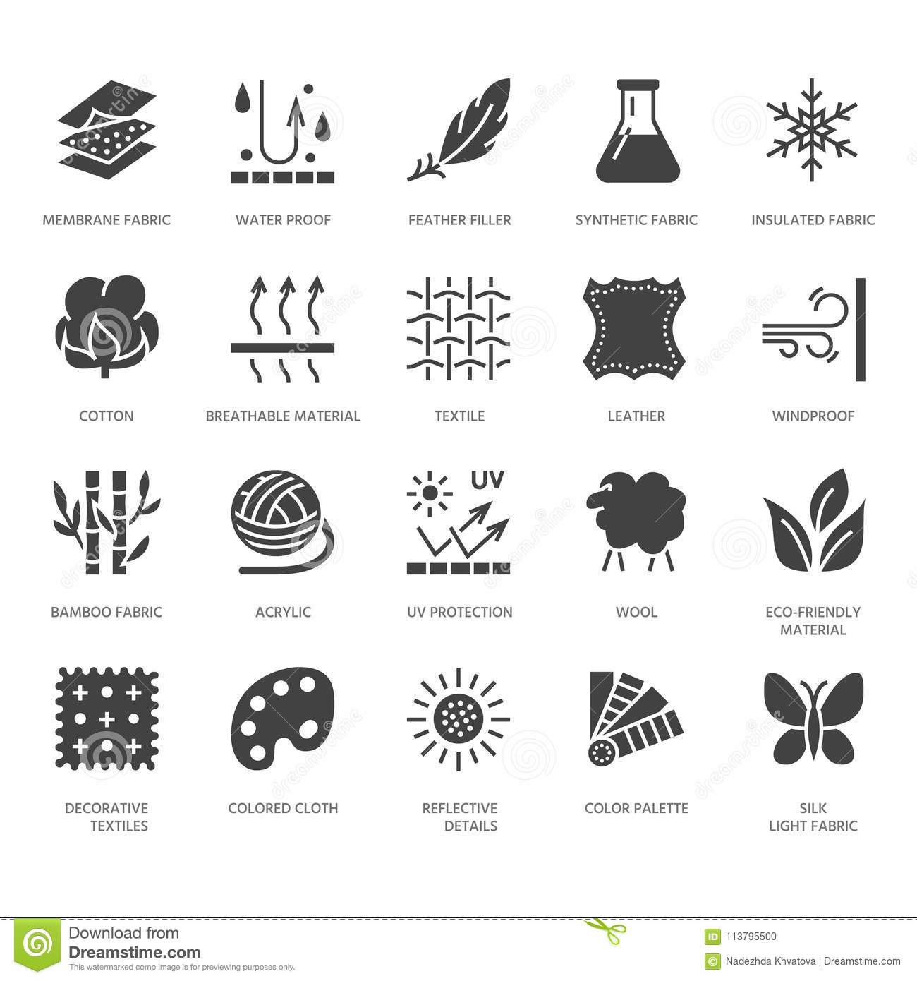 Fabric feature, clothes material vector flat glyph icons. Garment property symbols. Cotton wool, waterproof, wind