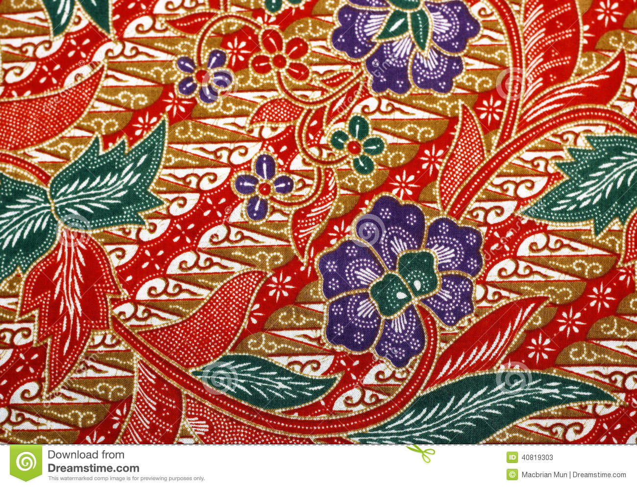 Fabric With Floral Batik Pattern Stock Image - Image of