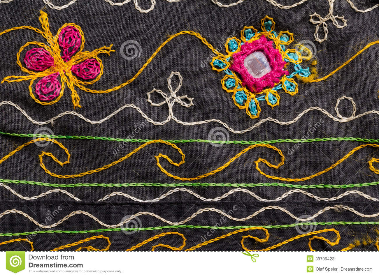 Fabric With Floral Motives Background Stock Image Image