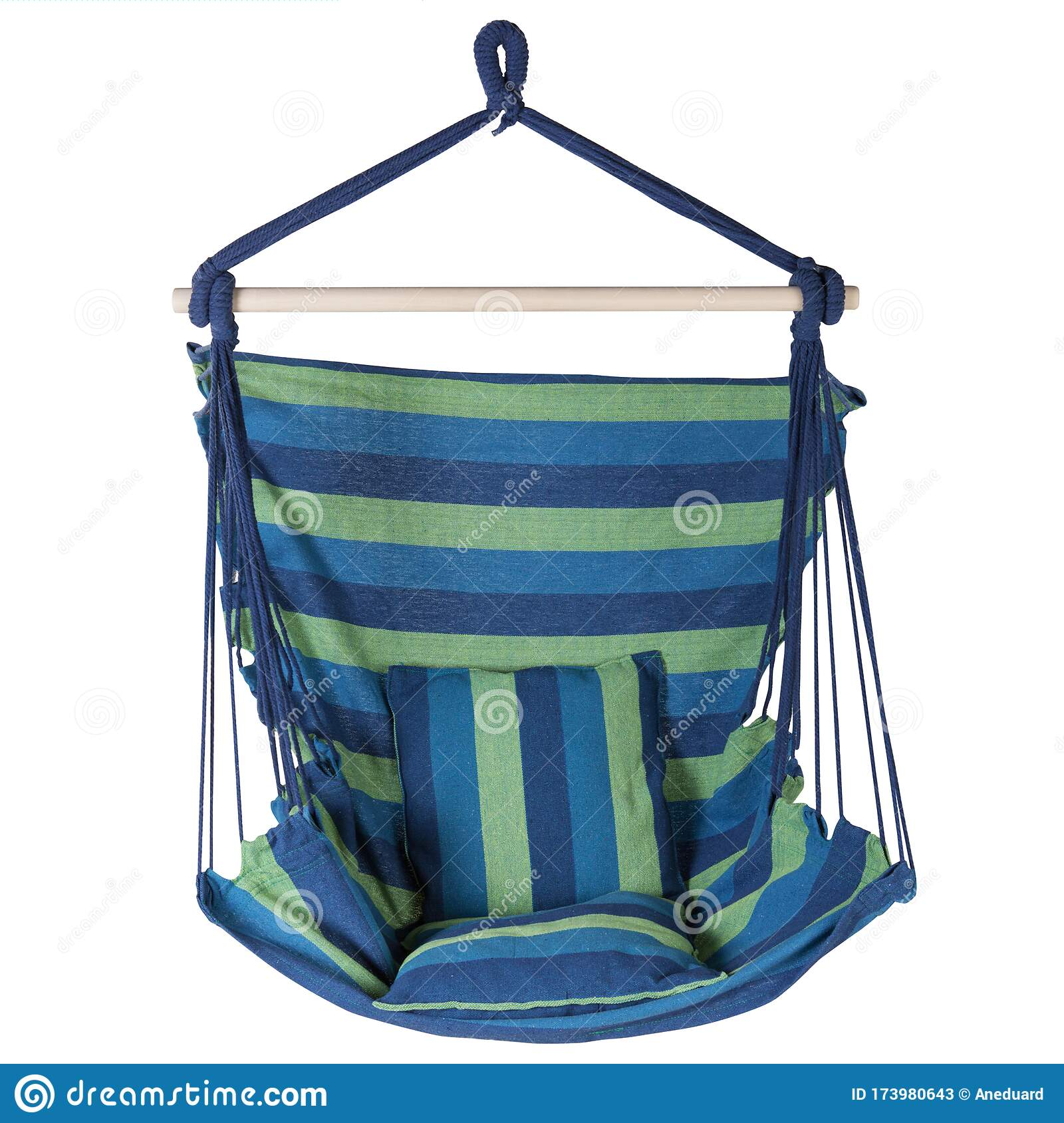 Fabric Hammock Chair With Blue And Green Stripes On A White