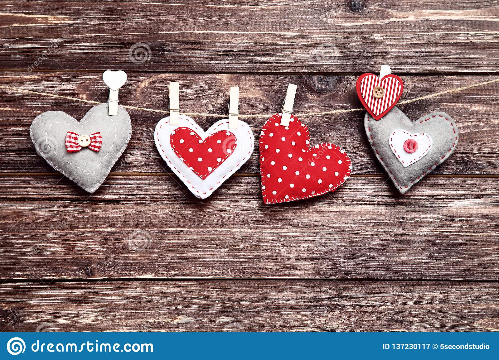 Fabric Hearts Stock Image Image Of Colorful Hanging 137230117