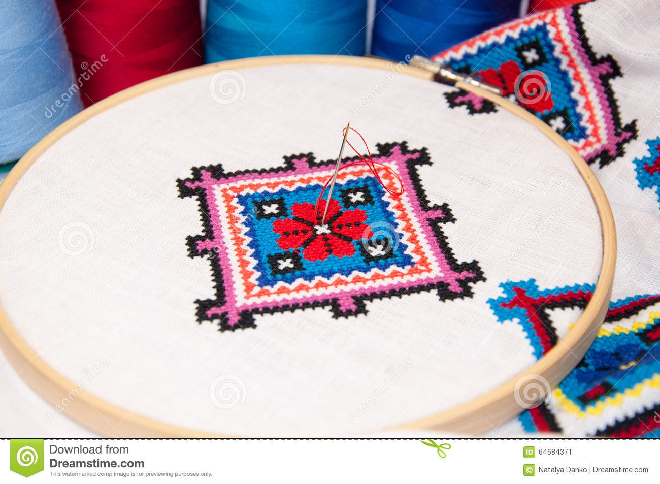 The Fabric In The Hoop With Embroidery Stock Image - Image of ...