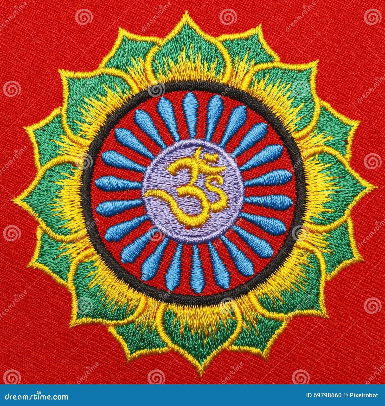 Fabric om symbol stock photo image of east lotus buddhism fabric om symbol buycottarizona