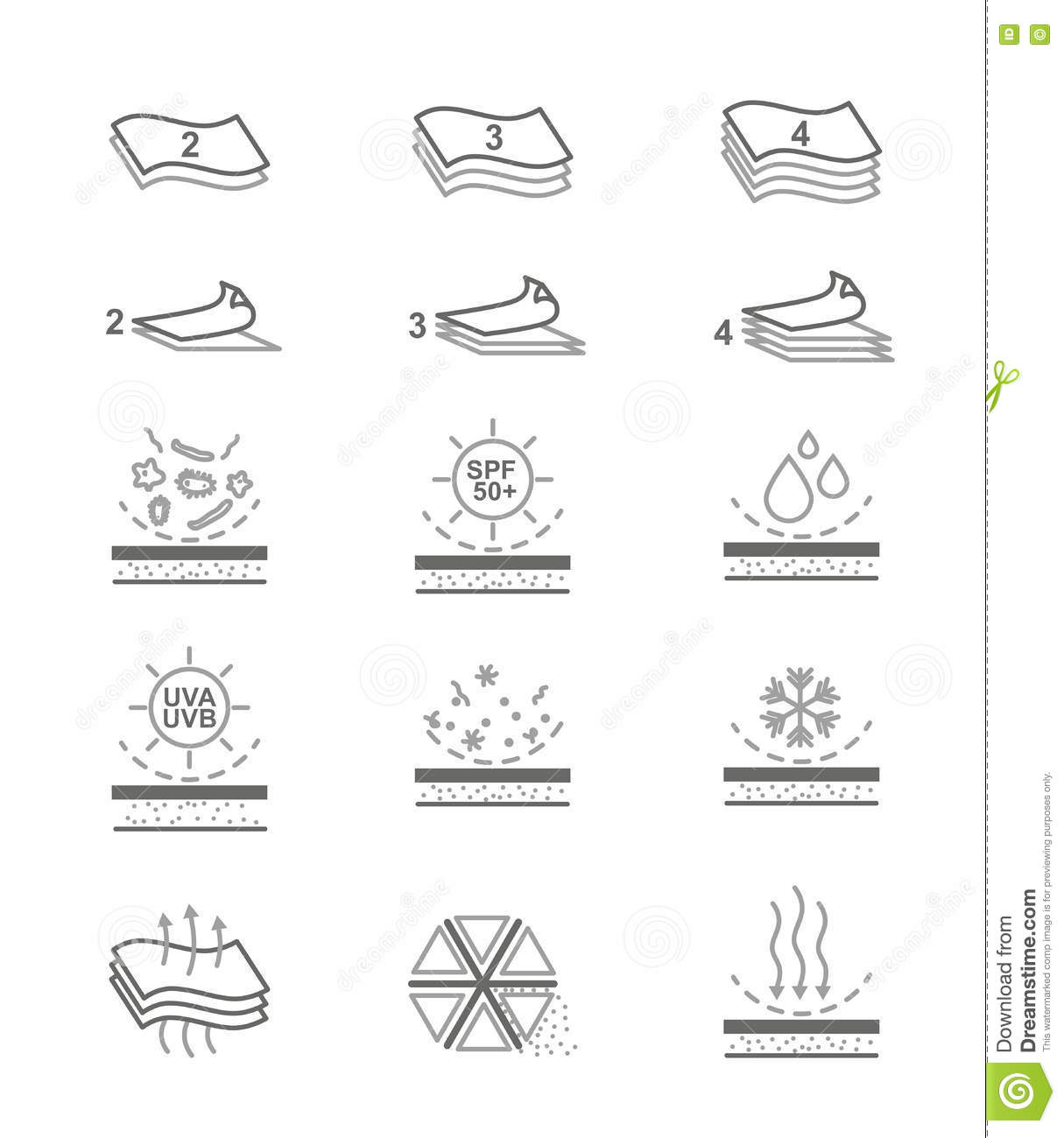 Fabric Properties Icons Vector Illustration