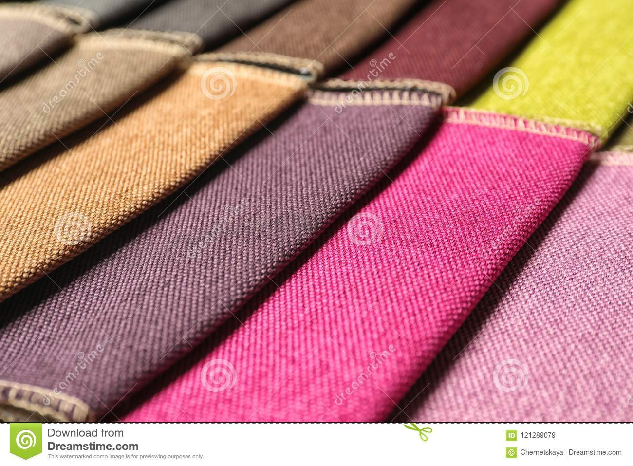 Fabric samples of different colors for interior design