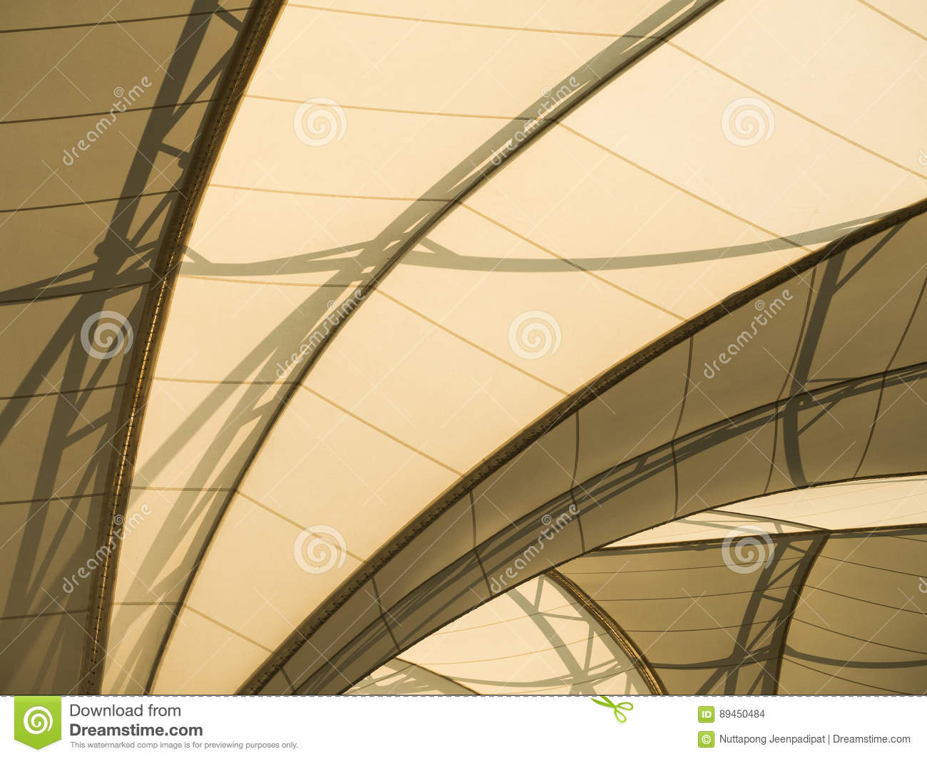 Fabric tensile roof structure
