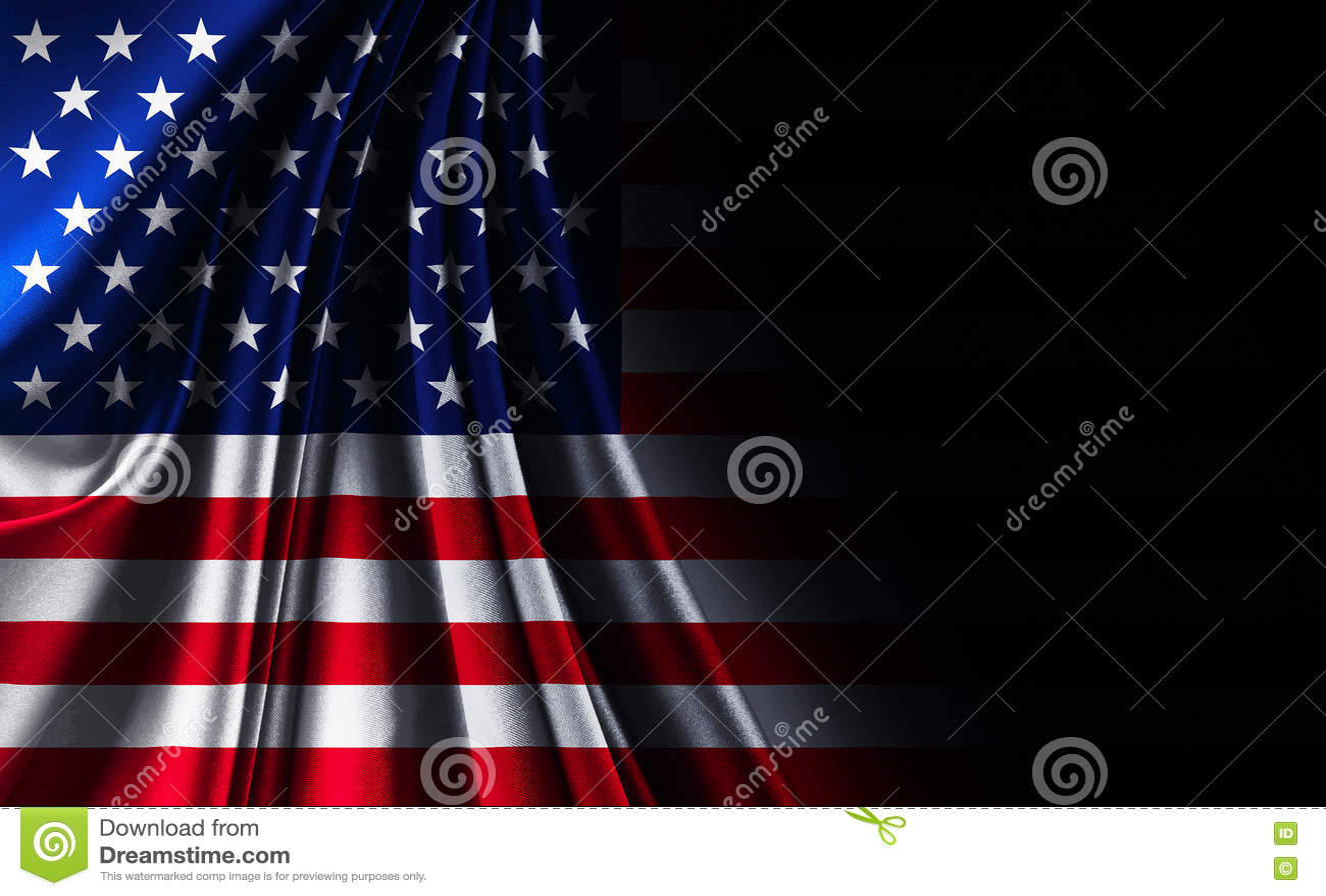 Fabric texture American USA flag, on black noir background