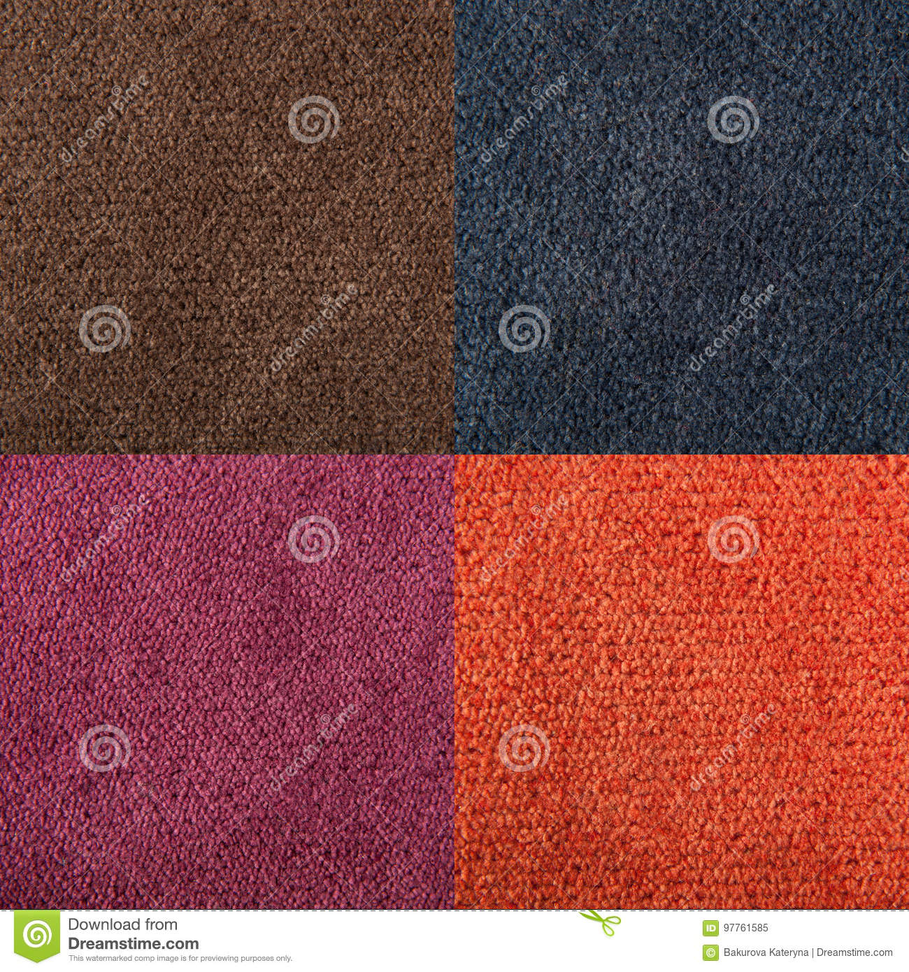 fabric texture orange, brown, blue, magenta carpeting for background