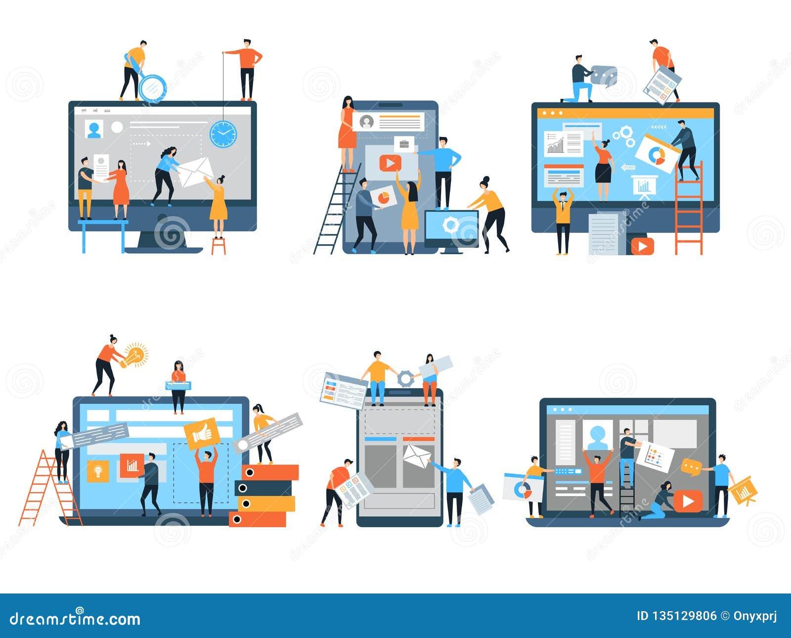 Fabricación del sitio Las páginas web bajo optimización del seo de la construcción que comercializaba vector simple del equipo de