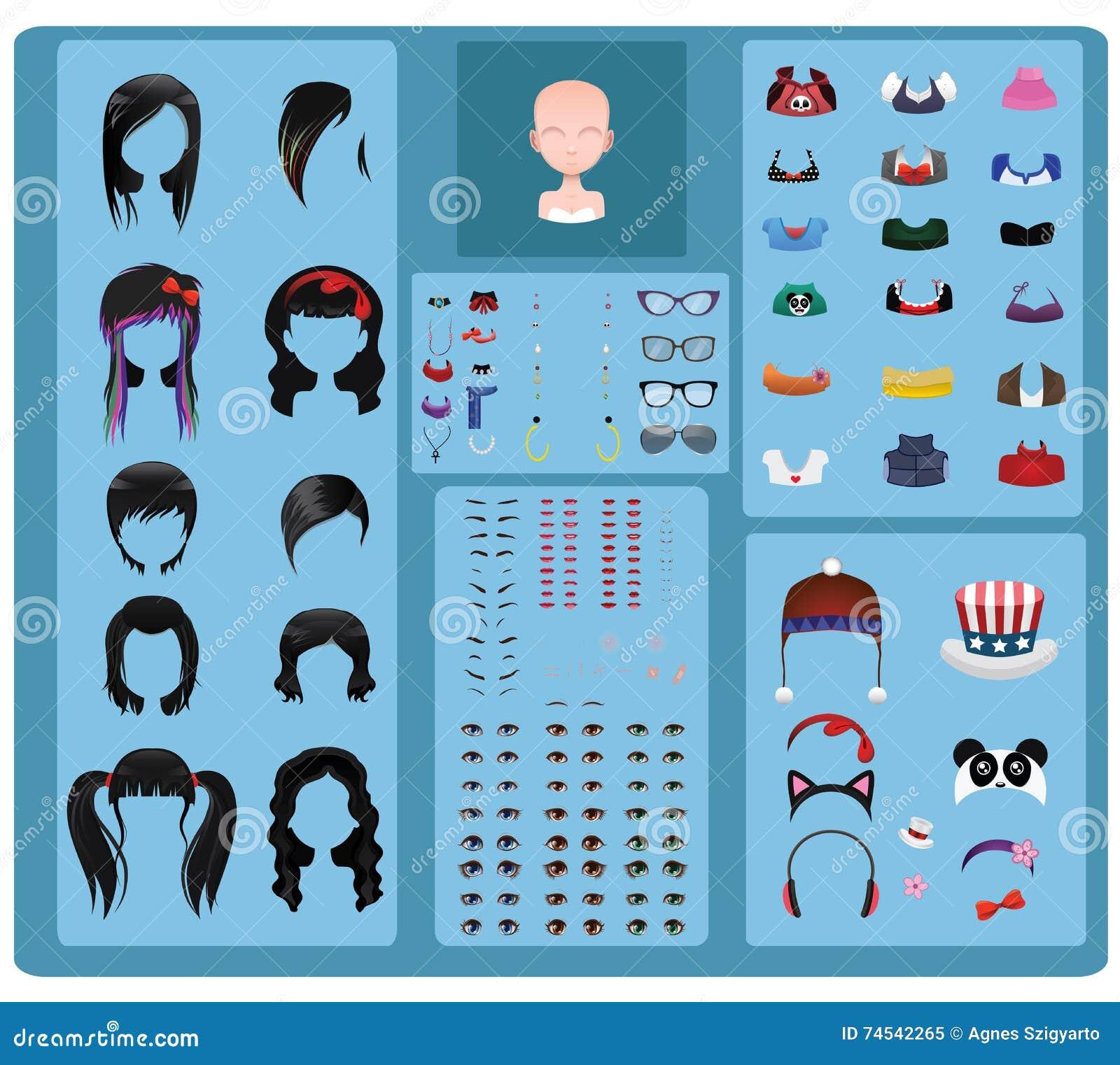 Fabricant femelle d avatar - cheveux noirs