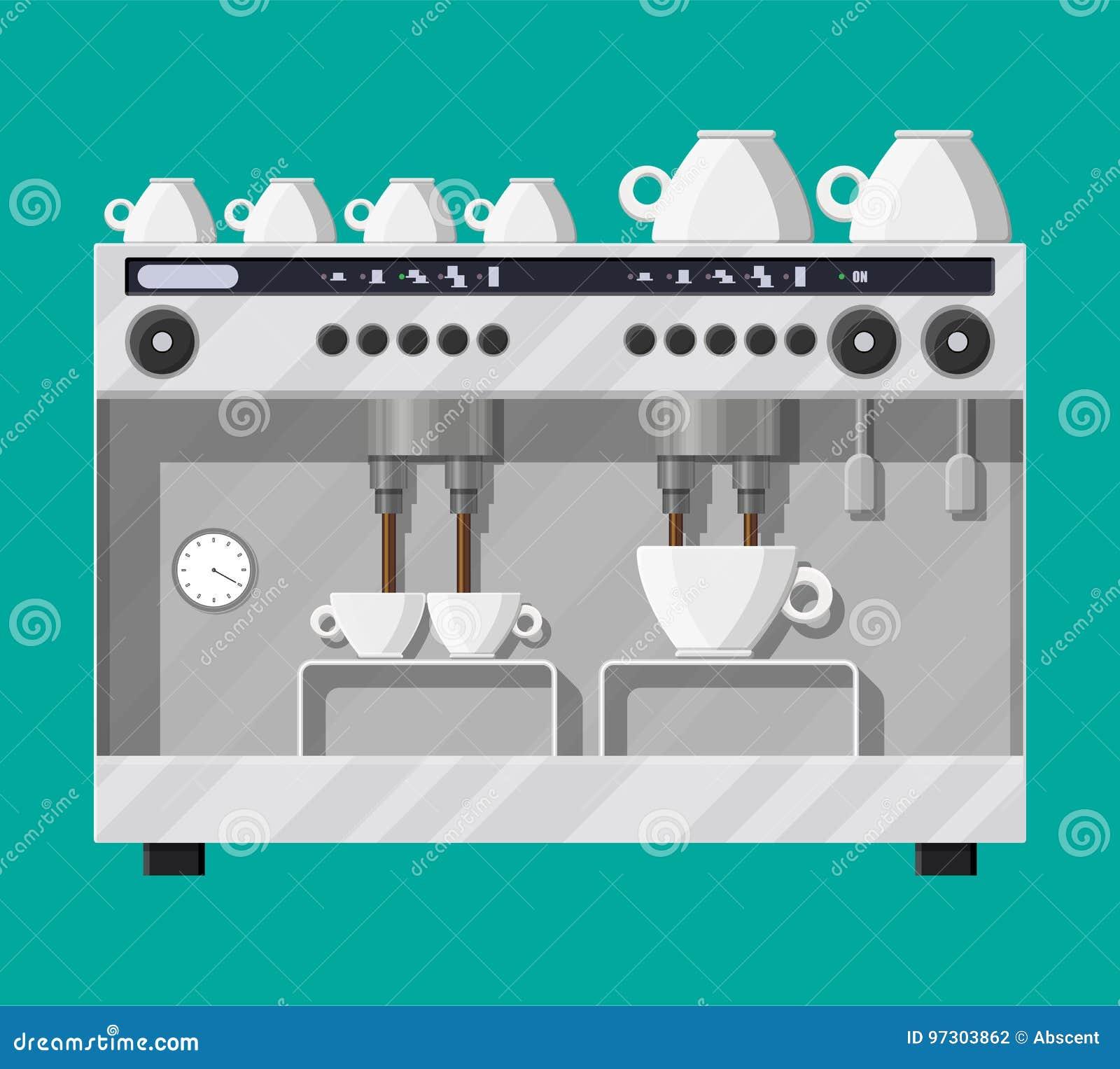 Fabricante de café con las tazas