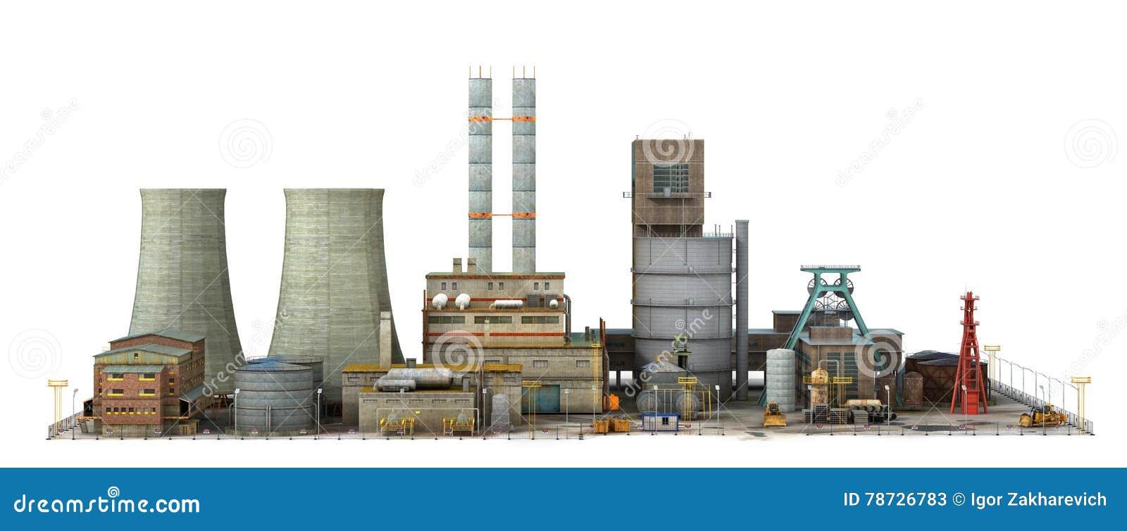Fabrik som isoleras på vit bakgrund Bransch