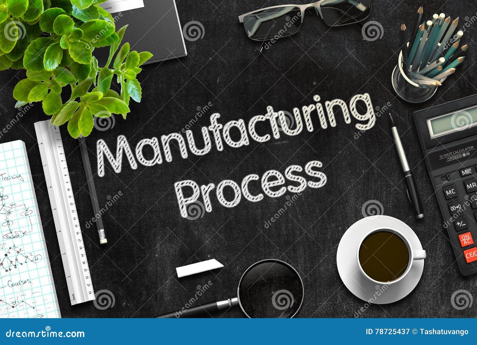 Fabriks- process på den svarta svart tavlan framförande 3d