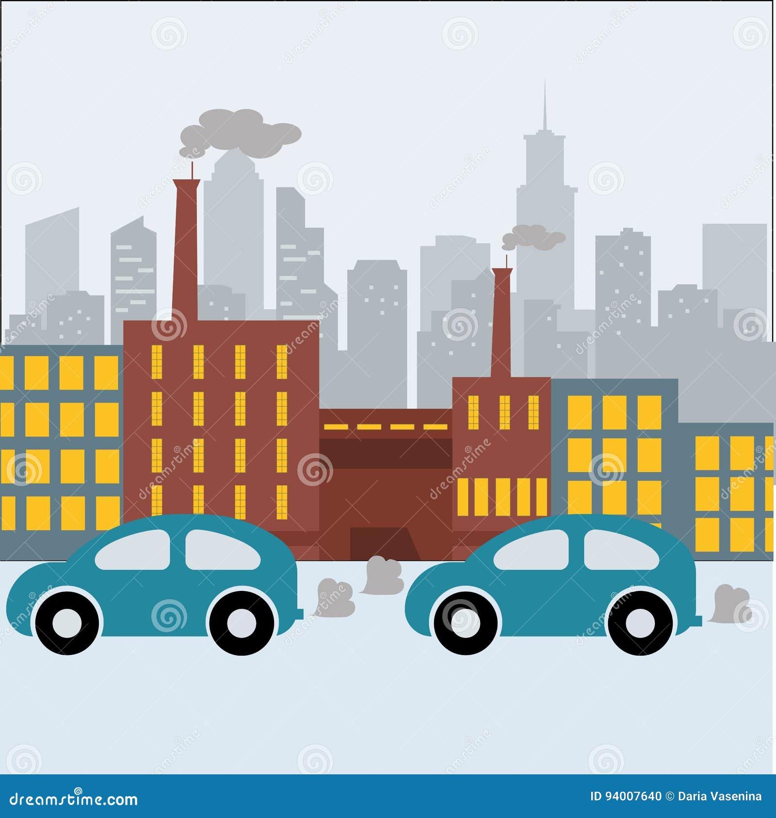 Fabrycznego budynek natury zanieczyszczenia rośliny drymby odpady sztandaru Płaska Wektorowa ilustracja