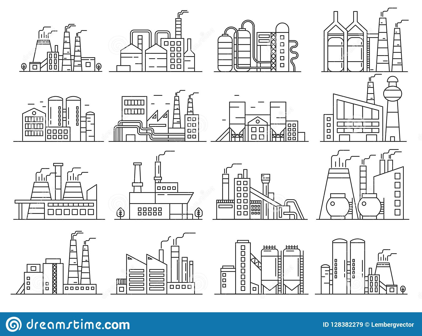 Fabryczny budynku kreskowego stylu set Indistrial budowy i reklamy architektury konturu uderzenia set