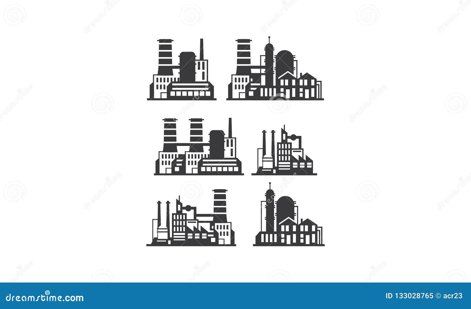 Fabryczny budynku logo ikony wektor