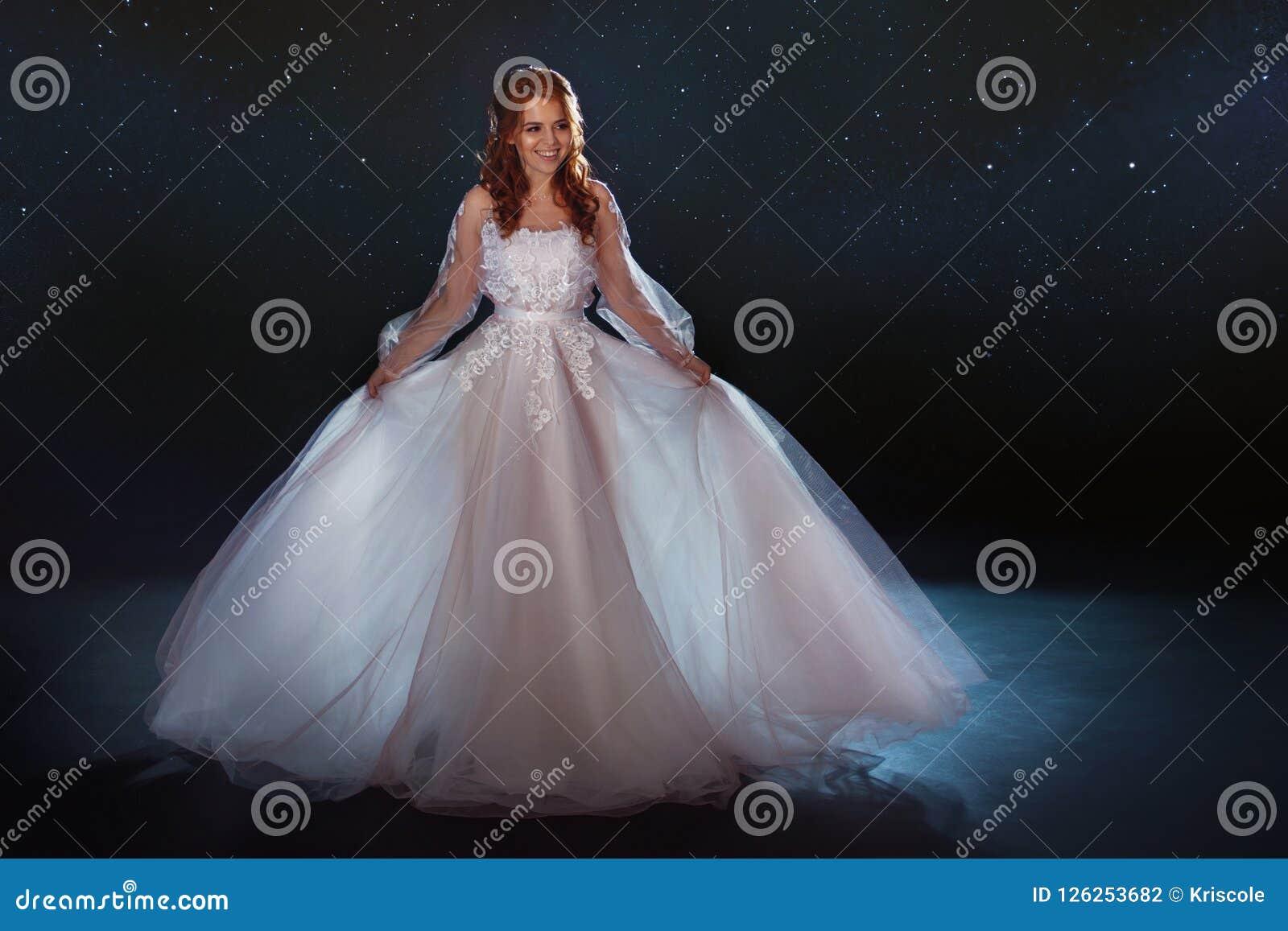Fabulous Bride In A Beautiful Dress Among The Stars Young Beautiful