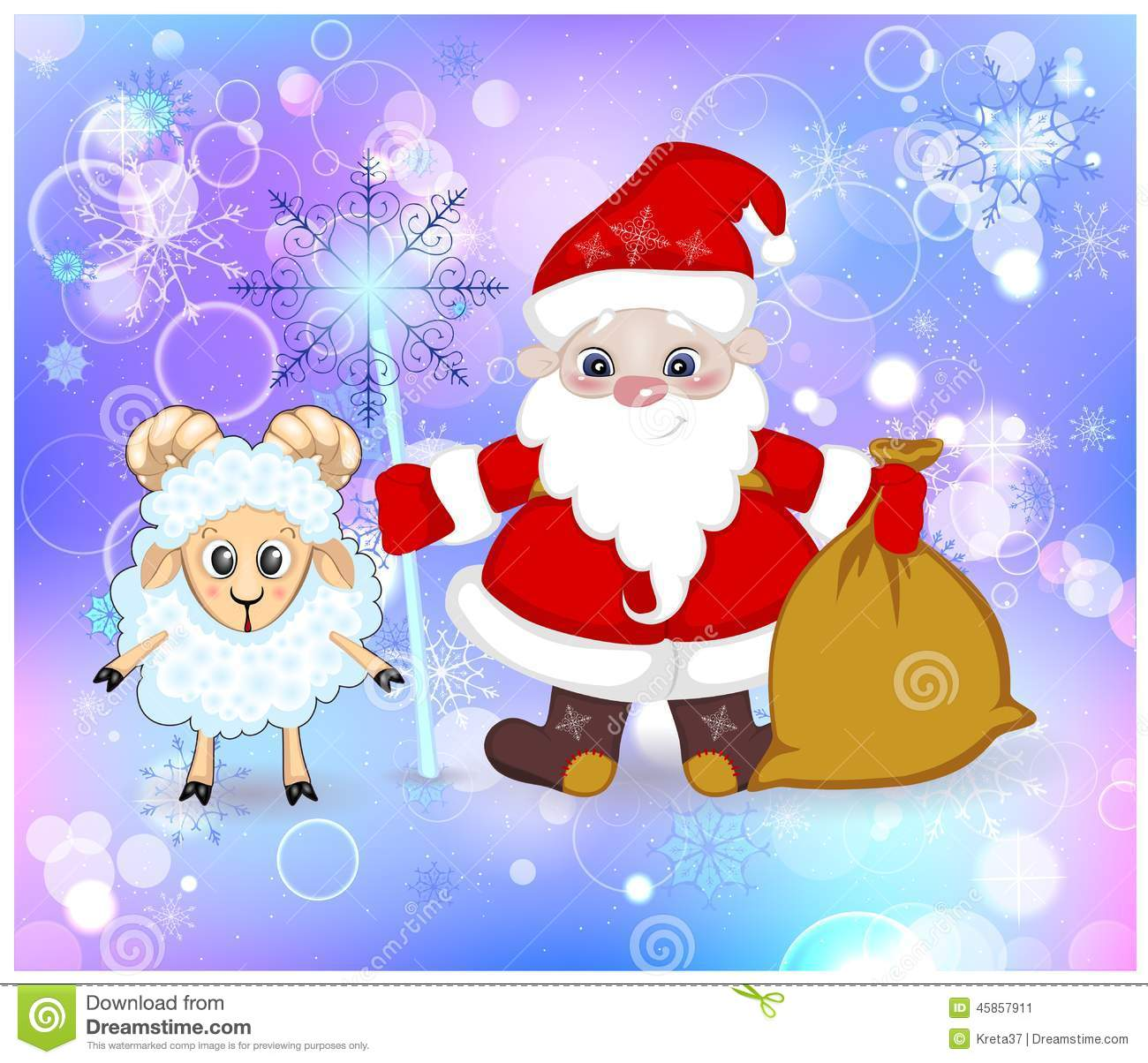 Fabulous santa claus and sheep staff and gift bag stock vector santa claus with a magic stick and a bag of gifts m4hsunfo