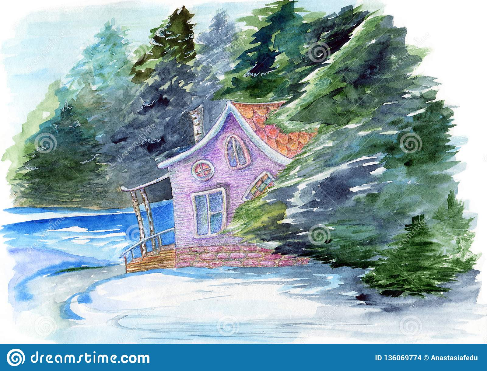 Fabulous watercolor hand drawn illustration with fairyhouse in winter forest. Mystery house surrounded by trees and water on the w