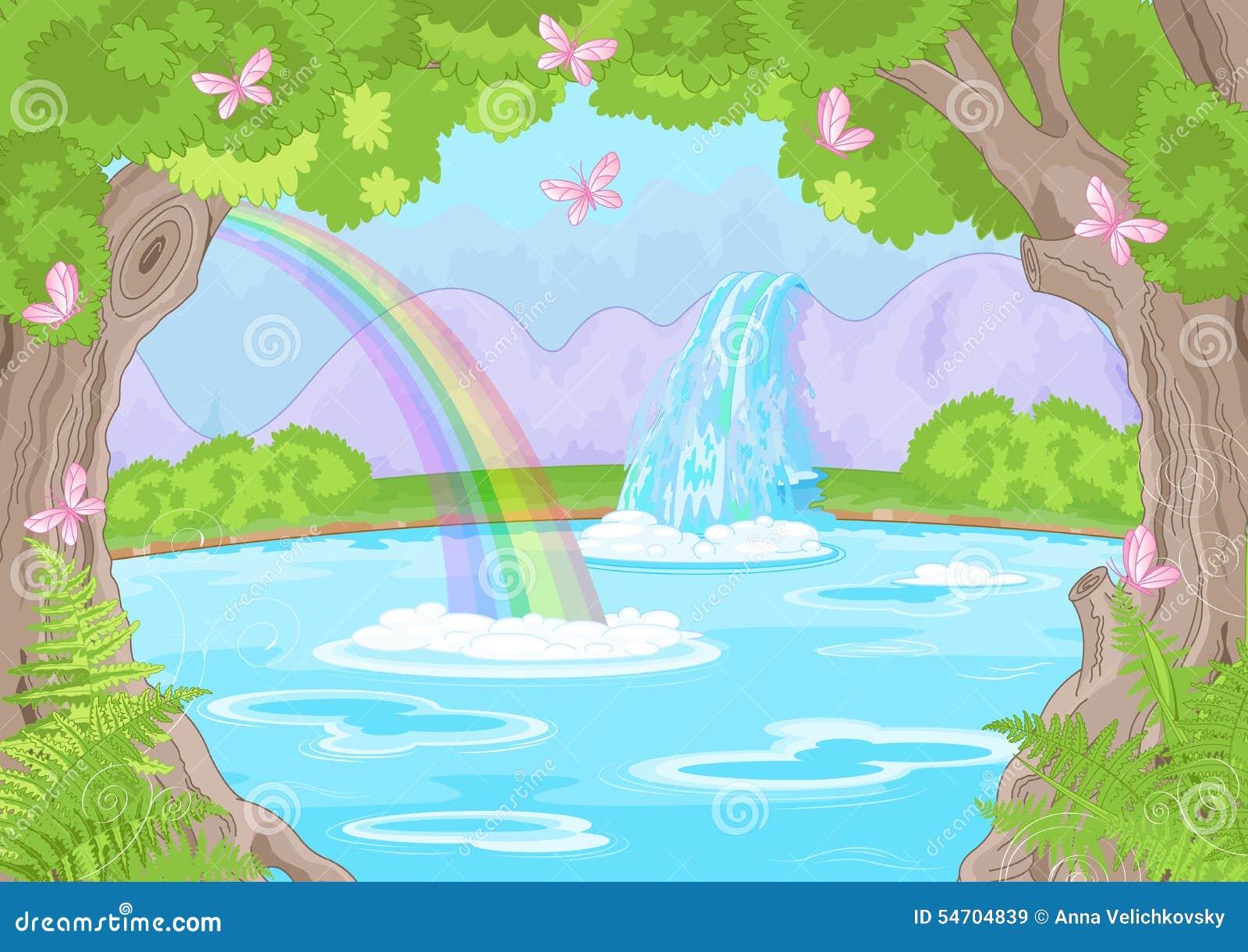 Landscape Illustration Vector Free: Fabulous Waterfall Stock Vector