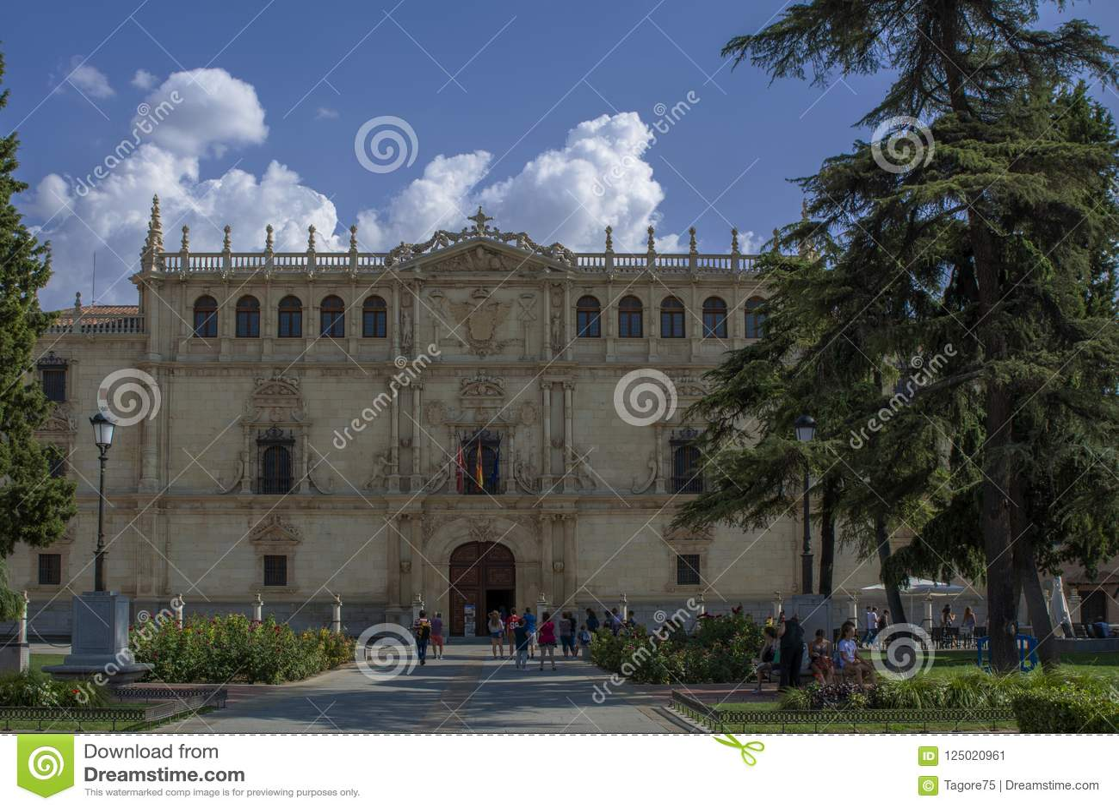 Facade of the Alcala de Henares University, Madrid, Spain