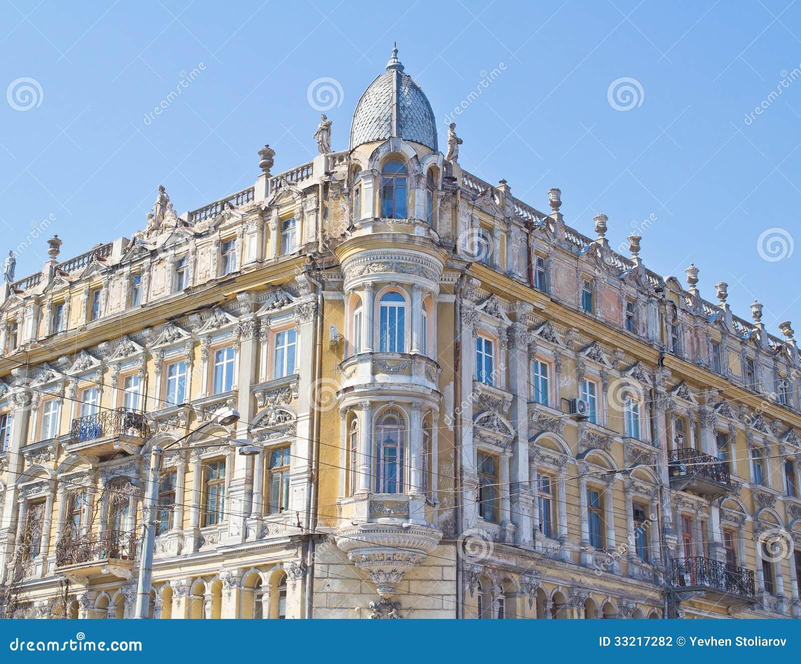 Facade Of Antique Building In Odessa Stock Photo - Image ...