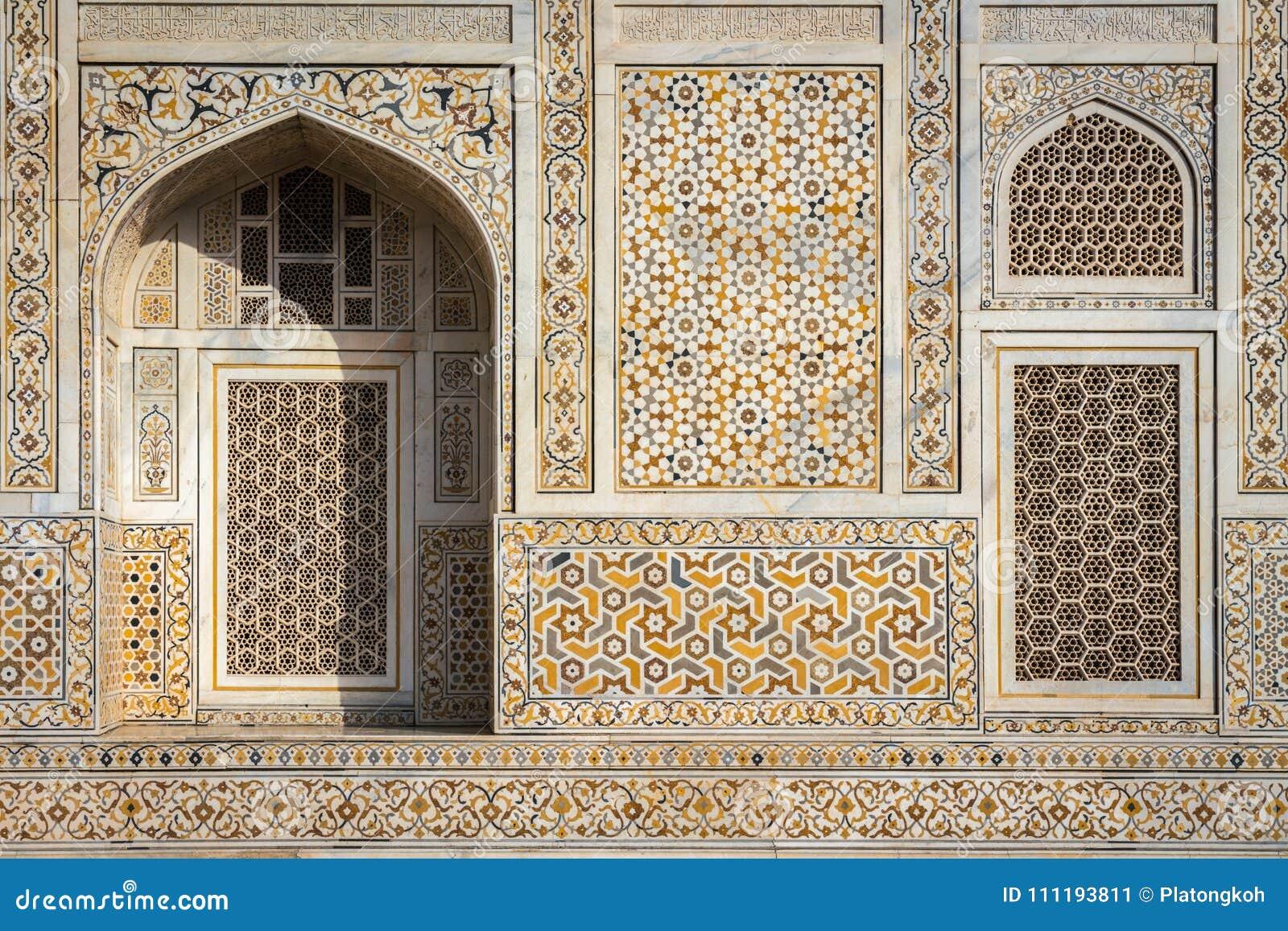 Facade of `Baby Taj` mausoleum in Agra, India.