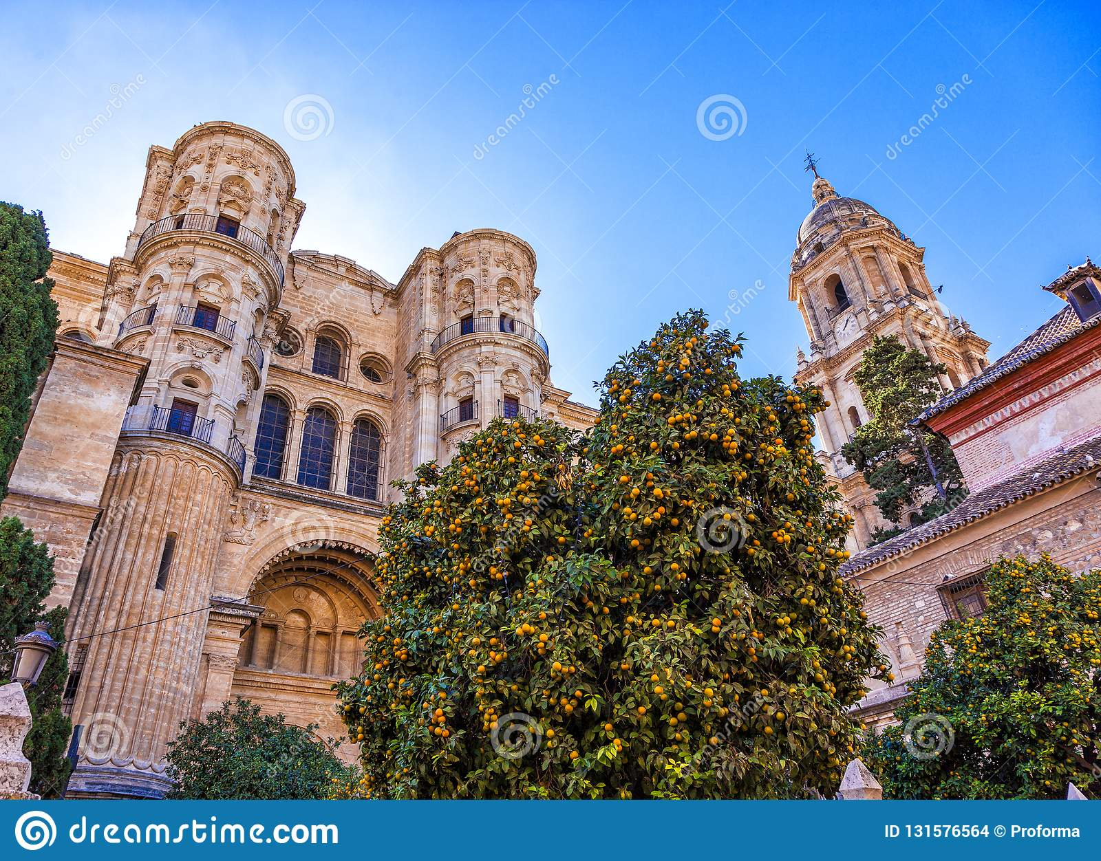 Facade and bell tower of the Cathedral of Malaga, Spain