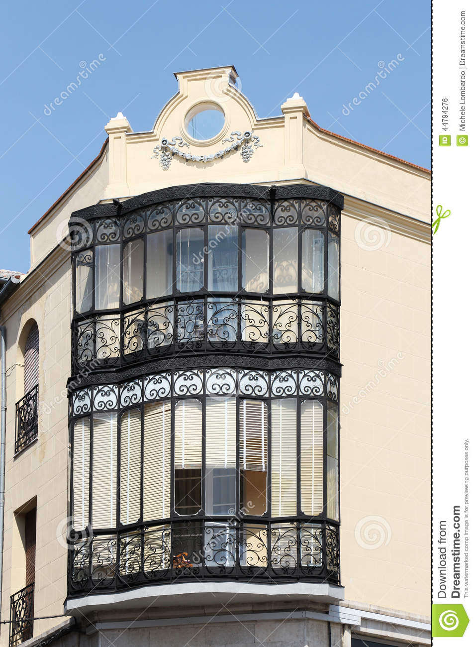 facade with bow window segovia spain photo stock image 44794276. Black Bedroom Furniture Sets. Home Design Ideas