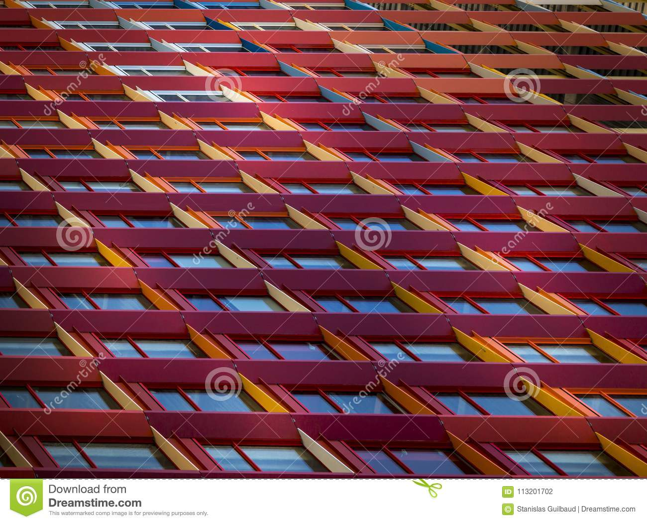 Facade building view of coloured windows frames