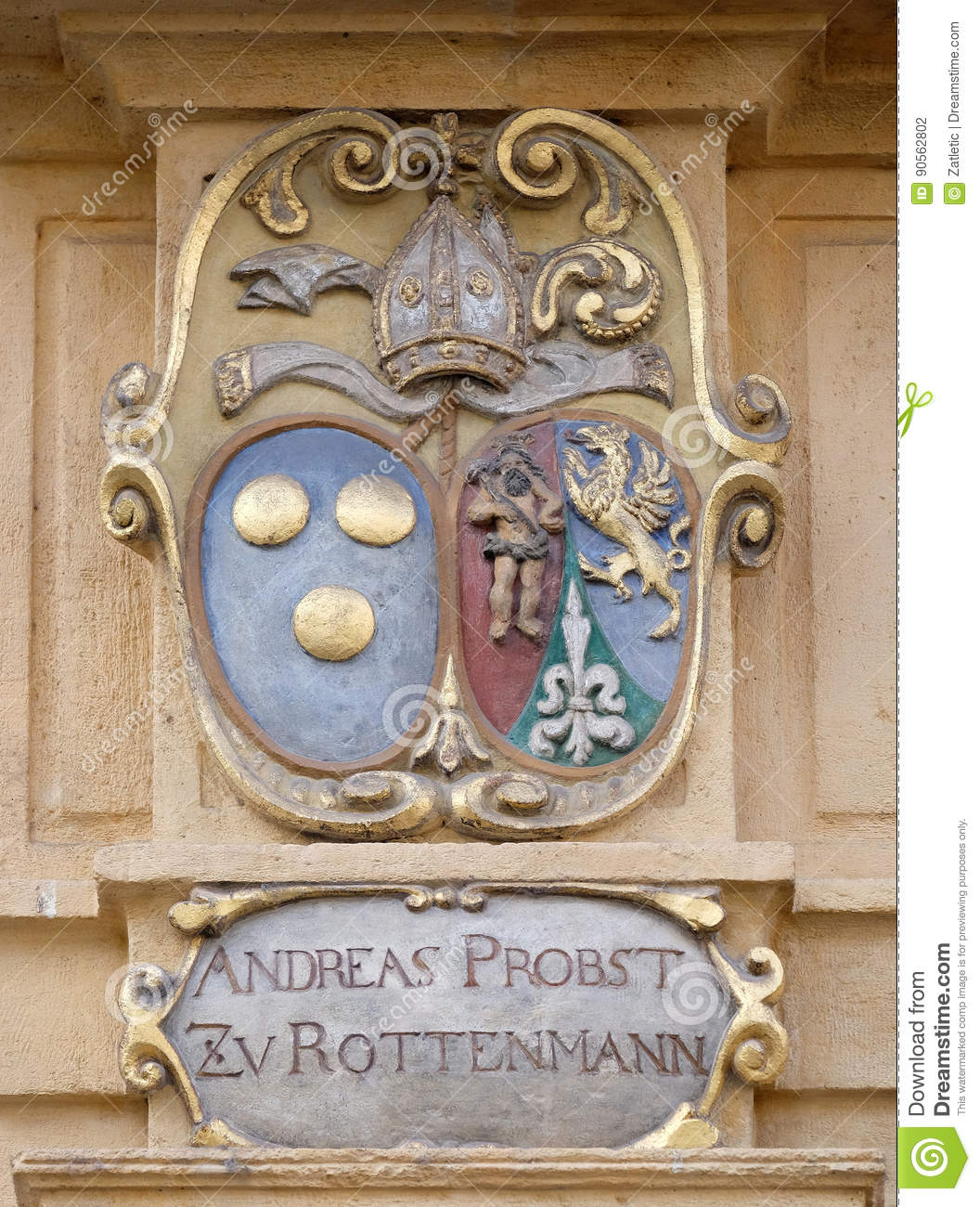 Facade coat of arms on the Landhaus historic center listed as World Heritage by UNESCO in Graz