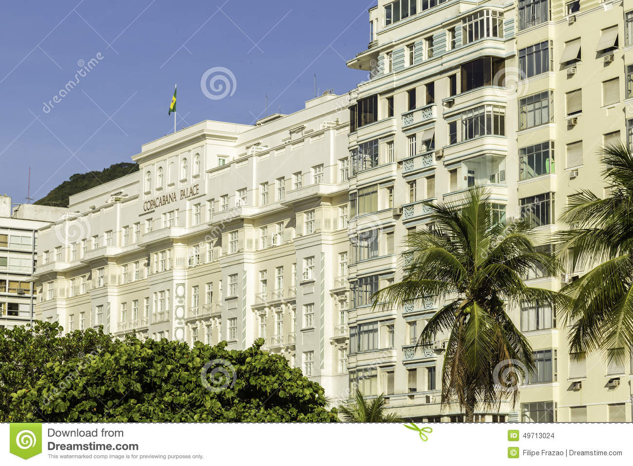 Facade of the Copacabana Palace Hotel, whose design was based on the style of hotels in the French Riviera, built in the 1920s