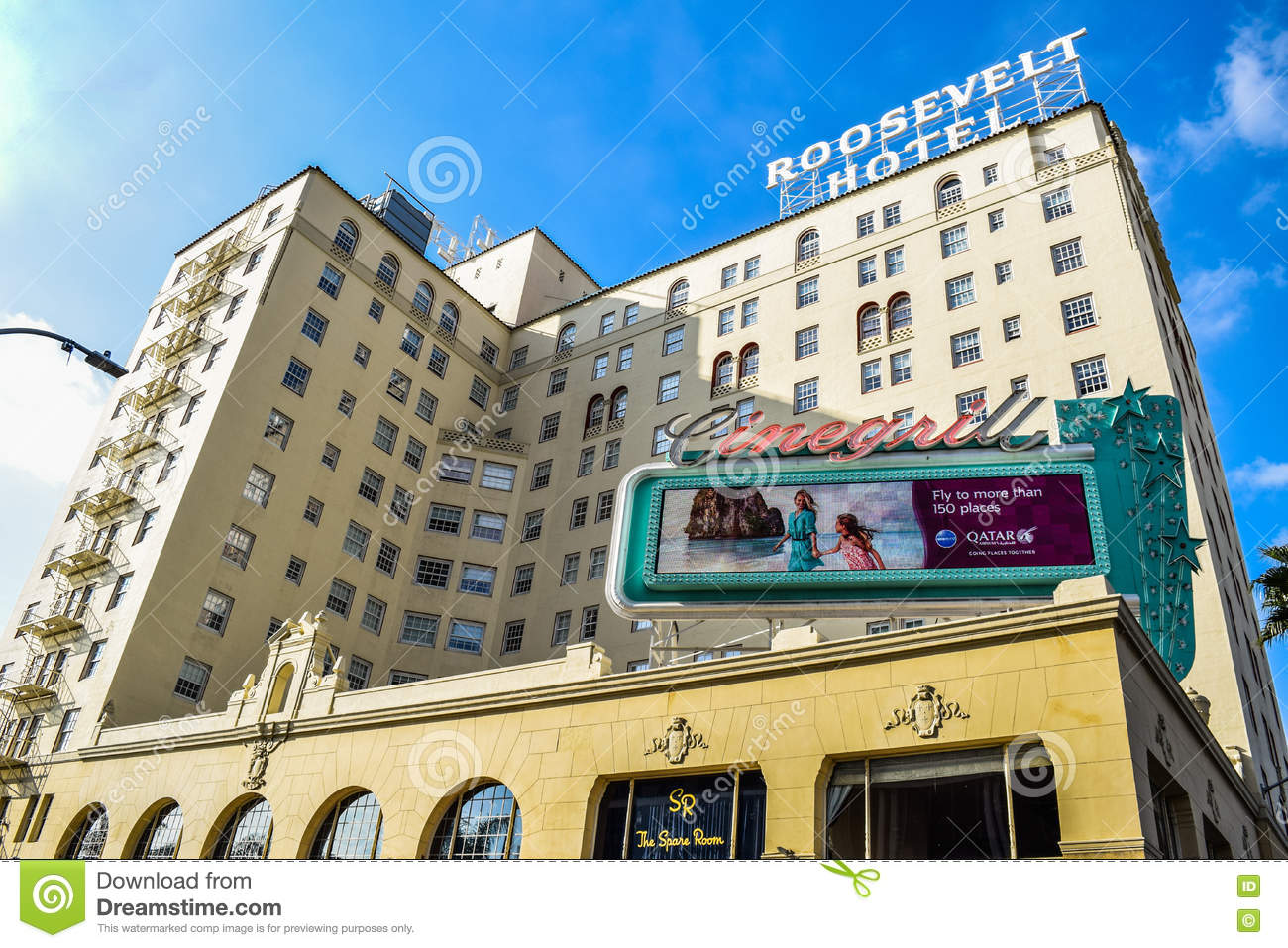 Facade of famous historic roosevelt hotel in hollywood for Oldest hotels in america