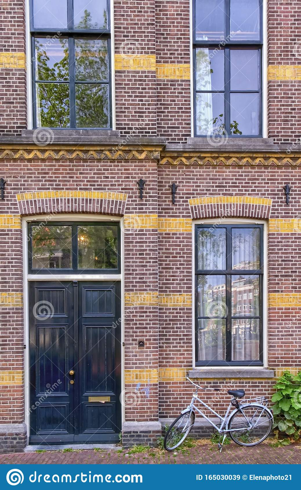 Facade of historic building in Amsterdam, Netherlands