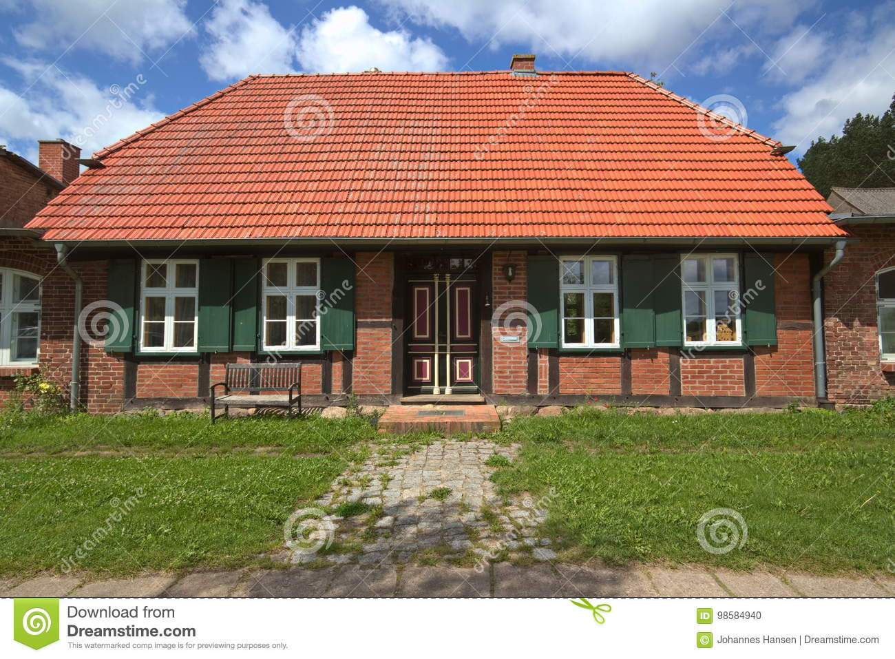 Facade of house listed as monument at Jager, Mecklenburg-Vorpommern, Germany