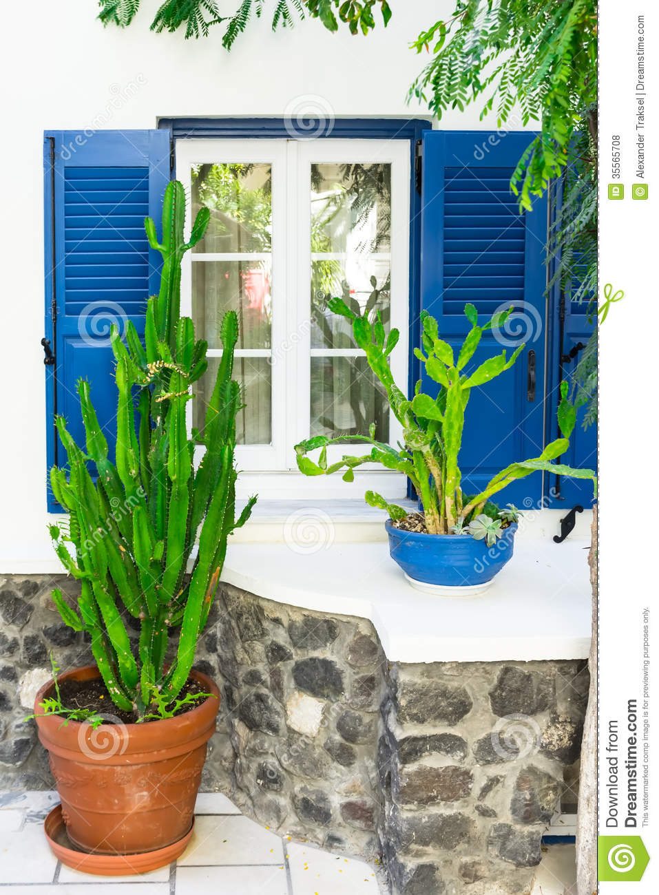 Facade Of The House With Plants Santorini Greece Royalty Free Stock