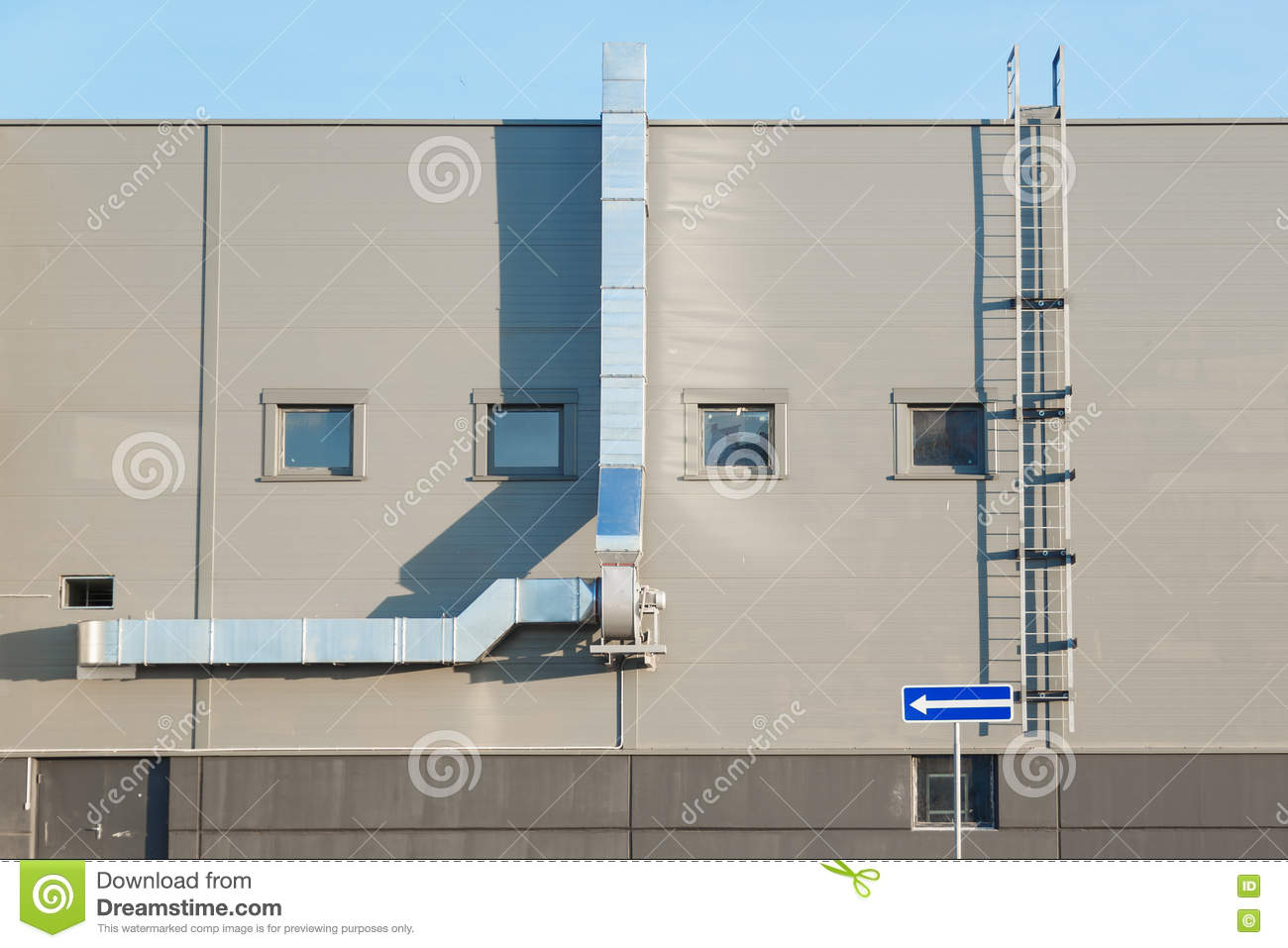 Industrial Building Ventiltors : Facade of an industrial building with ventilation stock