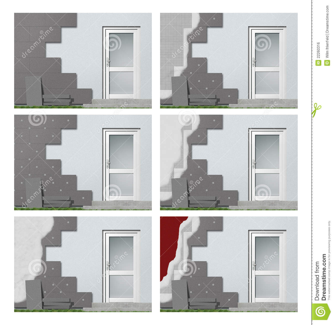 Facade insulation step by step royalty free stock image - Polystyrene insulation step by step ...