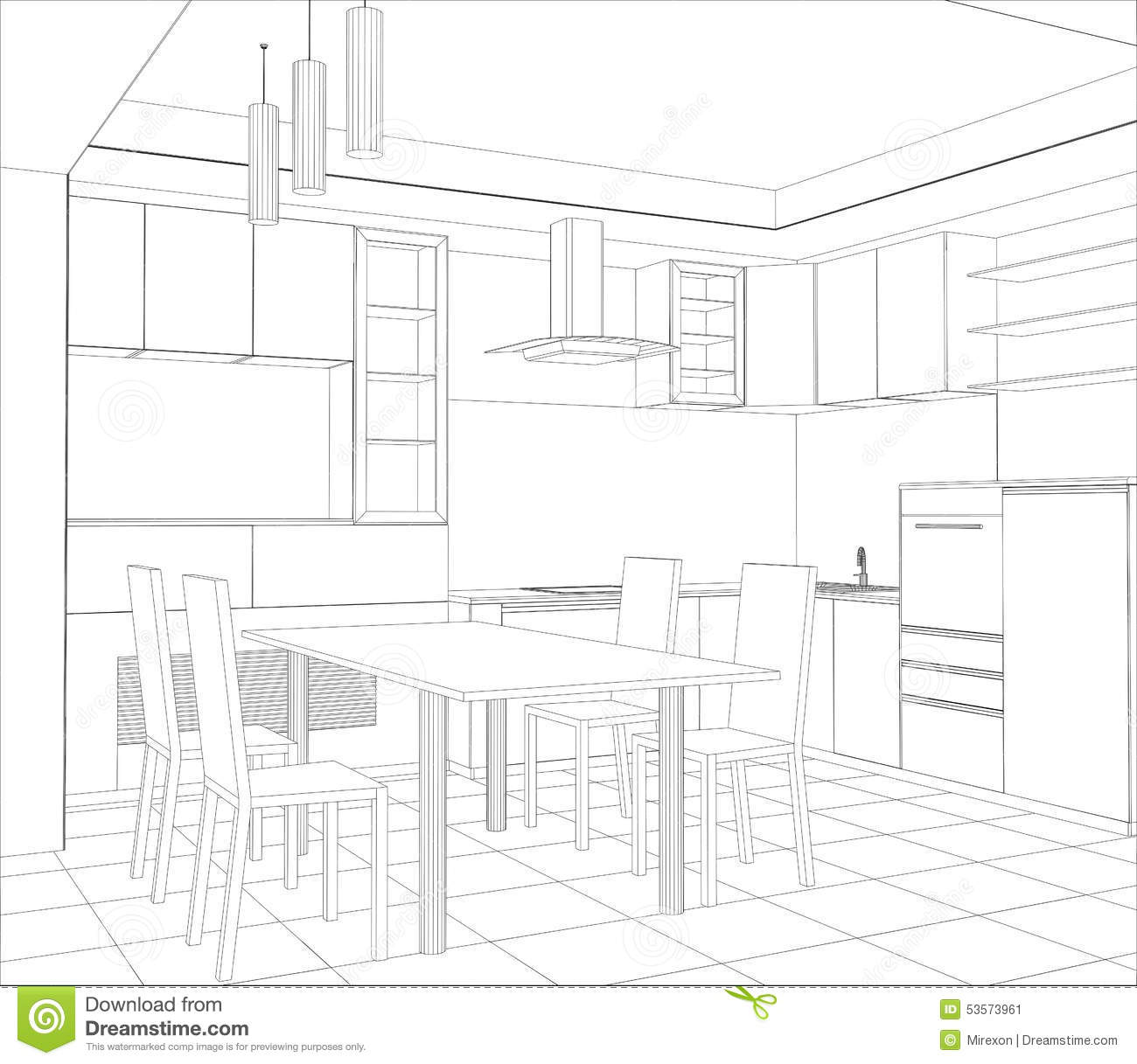 Facade Kitchen Vector Sketch Interior Stock Vector