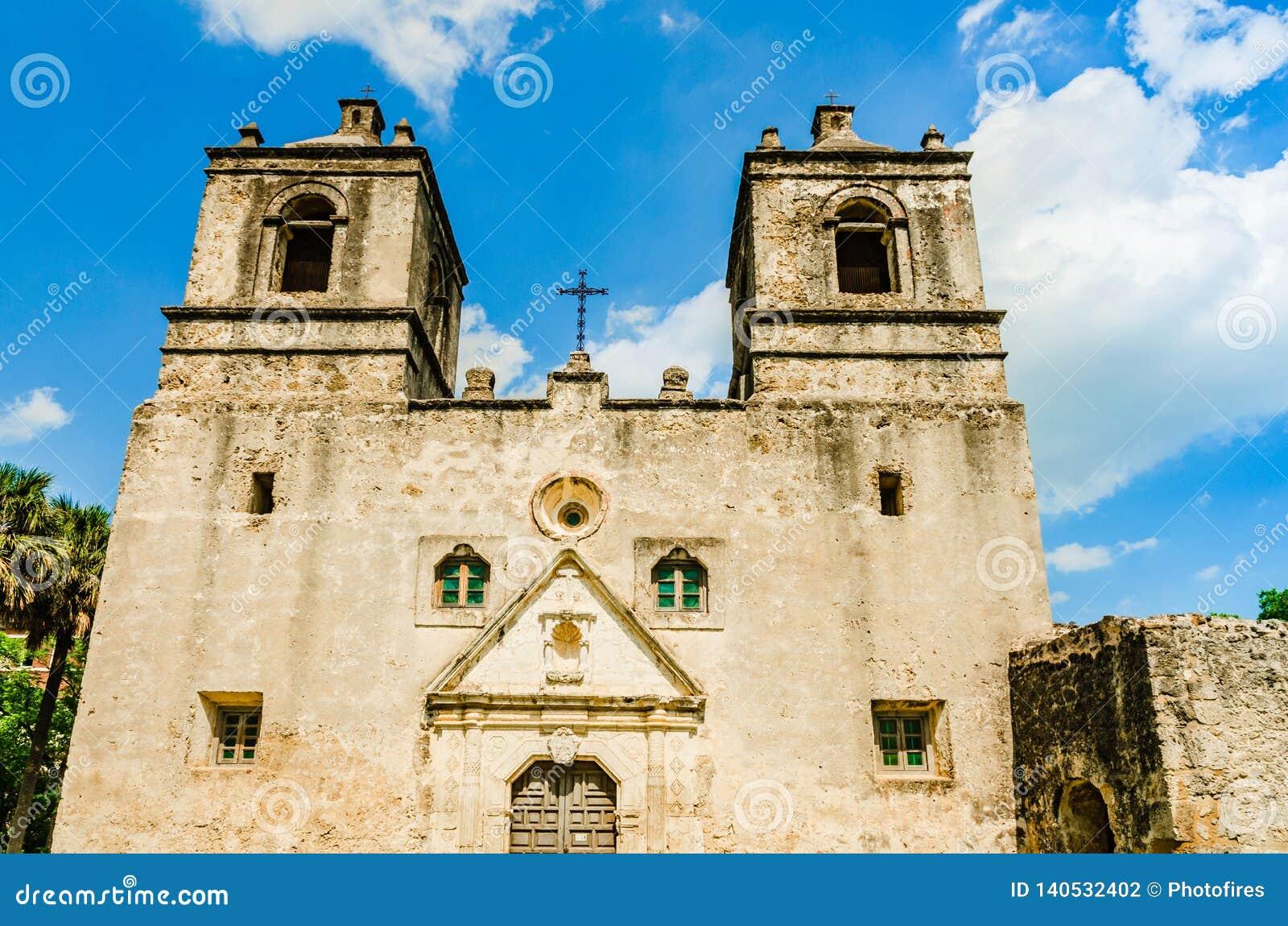 Facade Of The Mission Concepcion In San Antonio Texas Stock Photo
