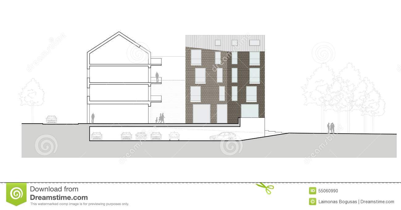 Facade Of The Modern Building Stock Illustration Image - Modern building sketches