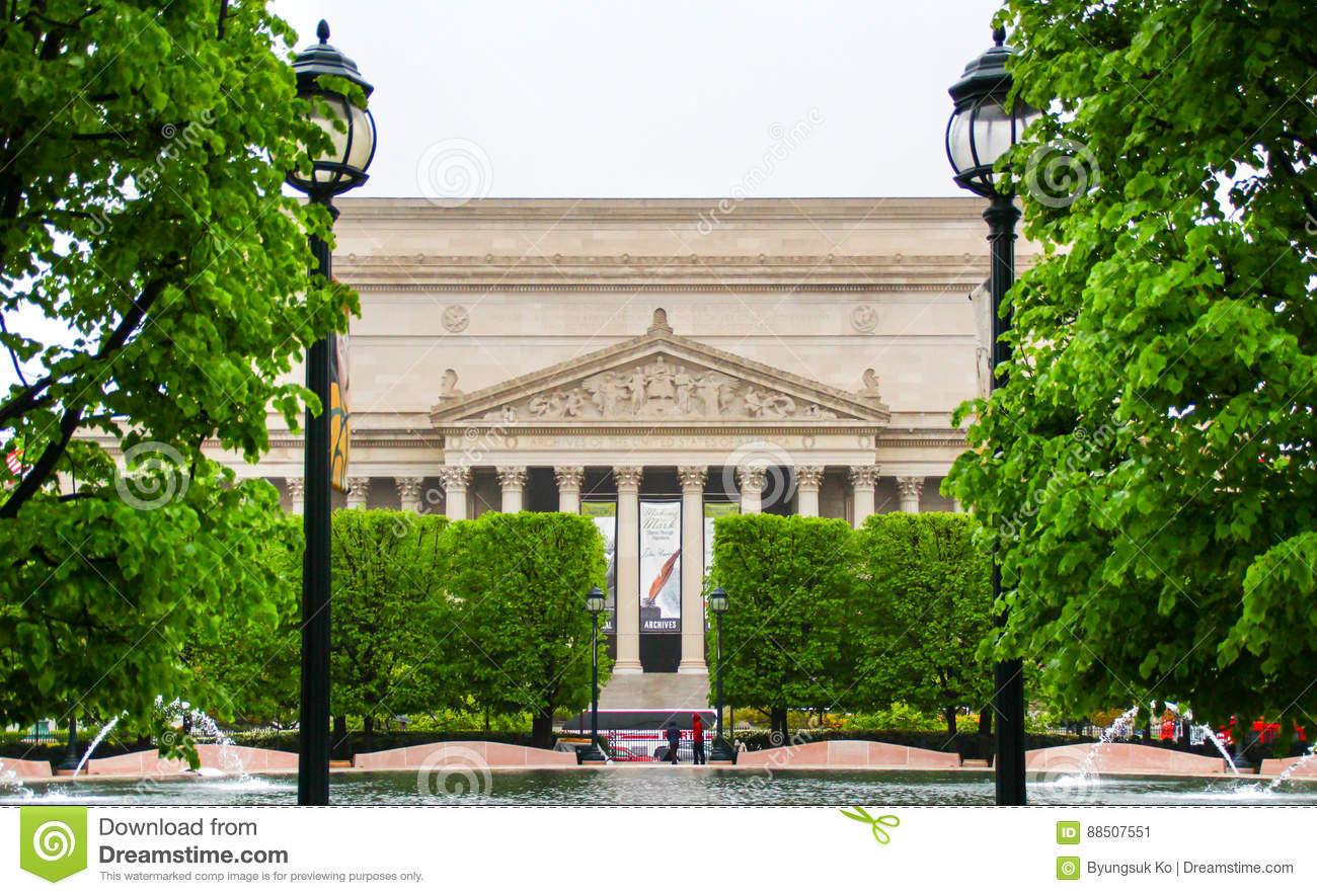 The Facade Of The National Archives Building Editorial