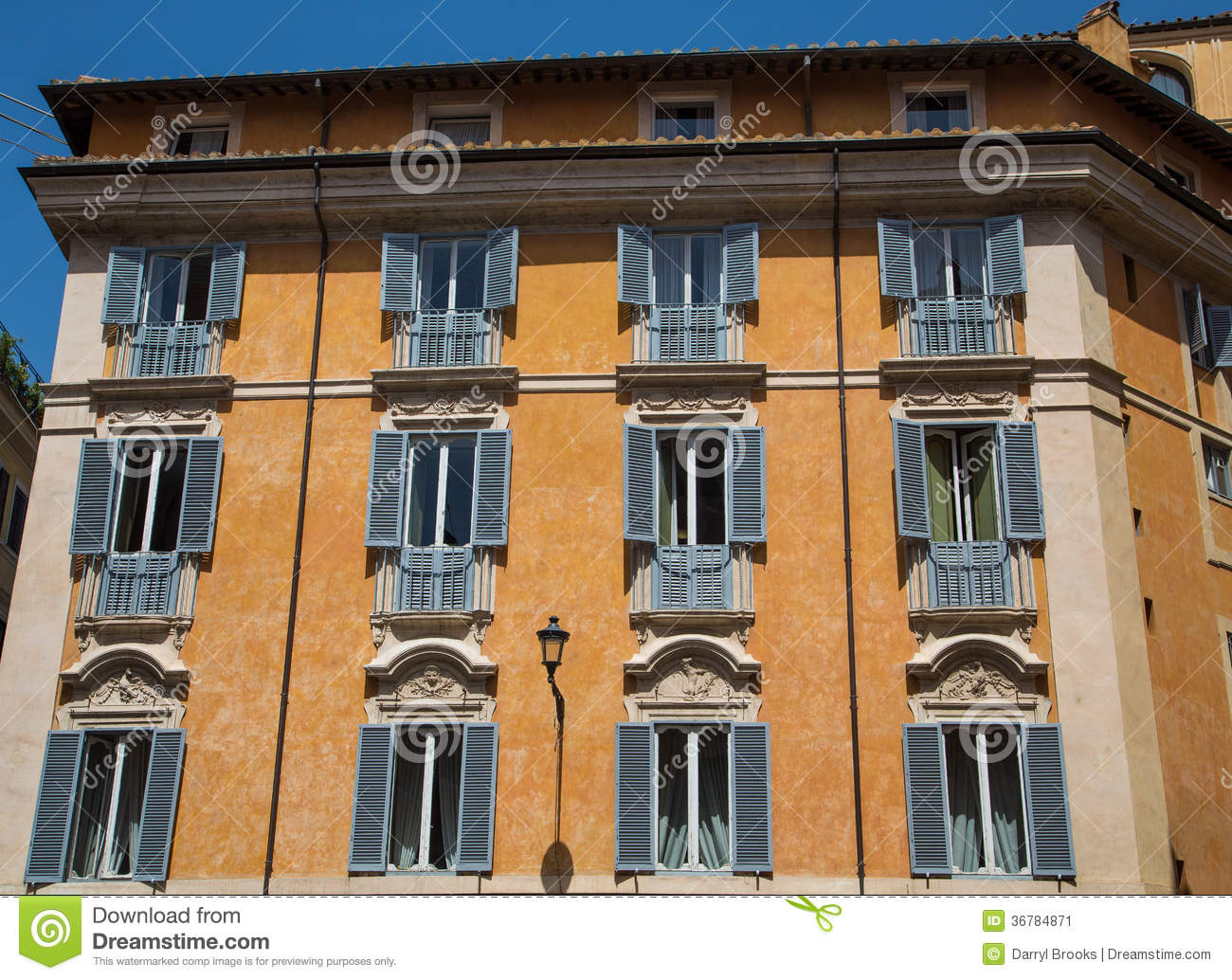 Facade Of Old Apartment Building In Rome Stock Image ...