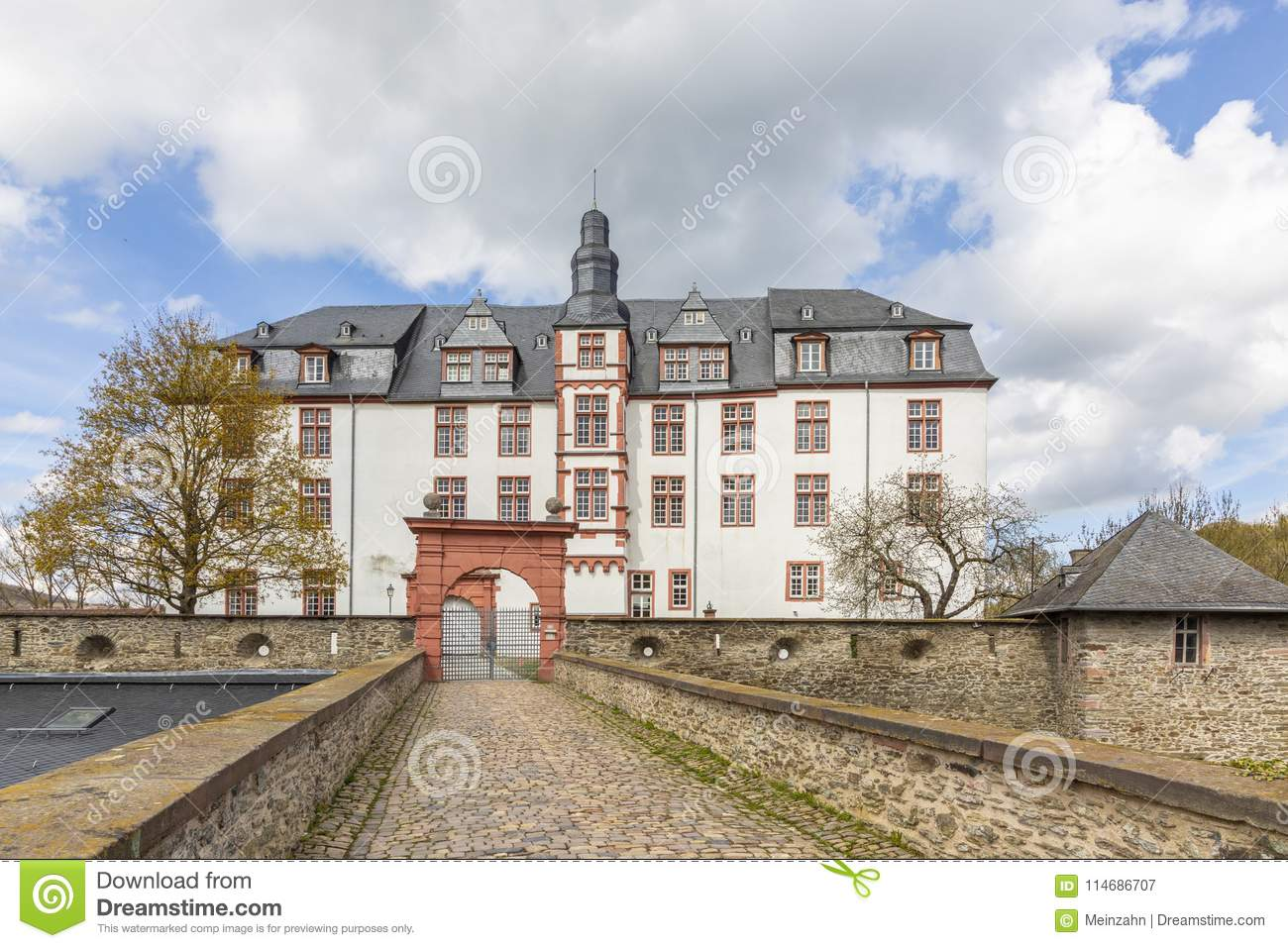 Facade of historic castle in Idstein, Germany