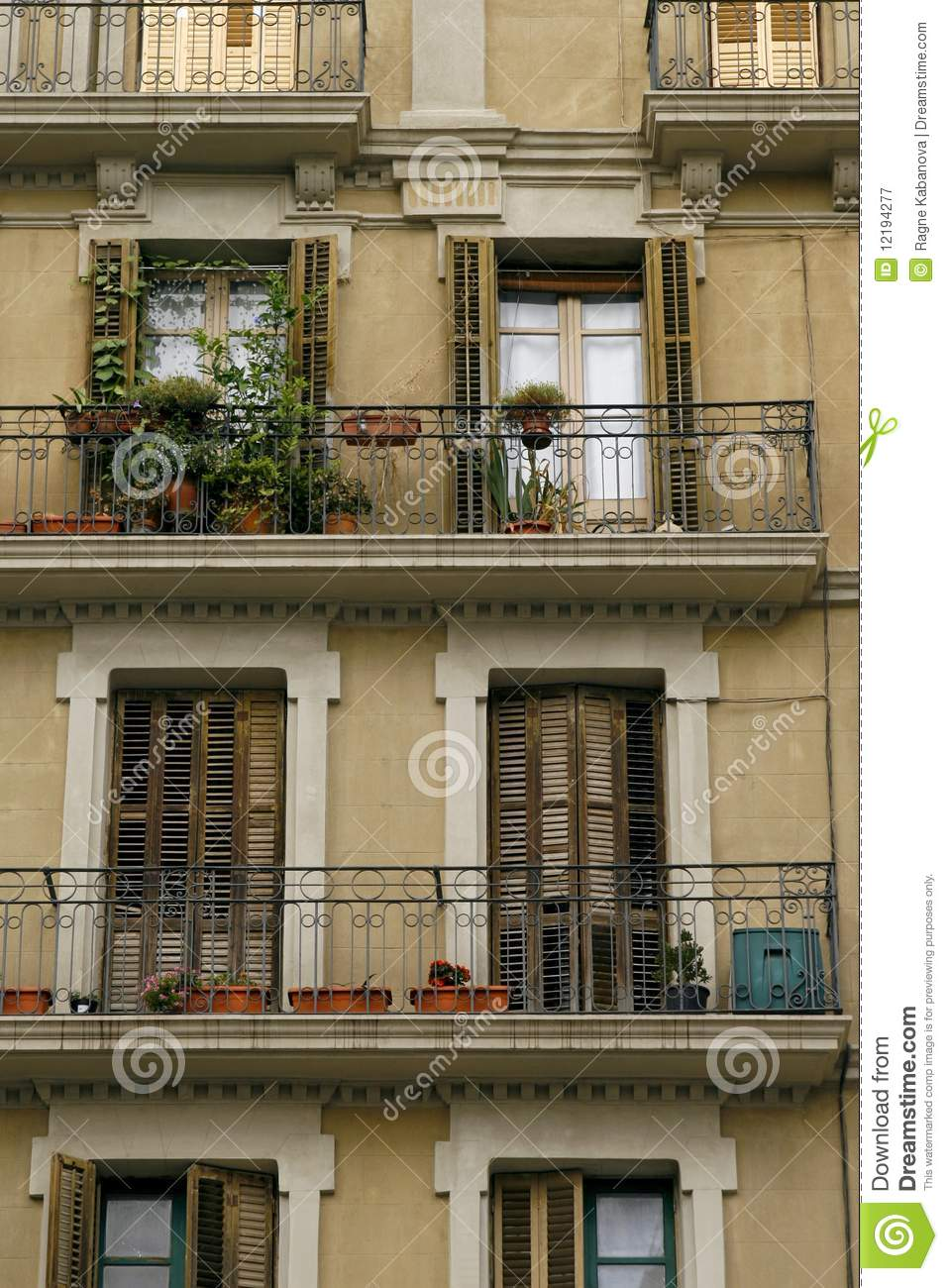 Facade of an old house in barcelona spain stock image for Classic house facades