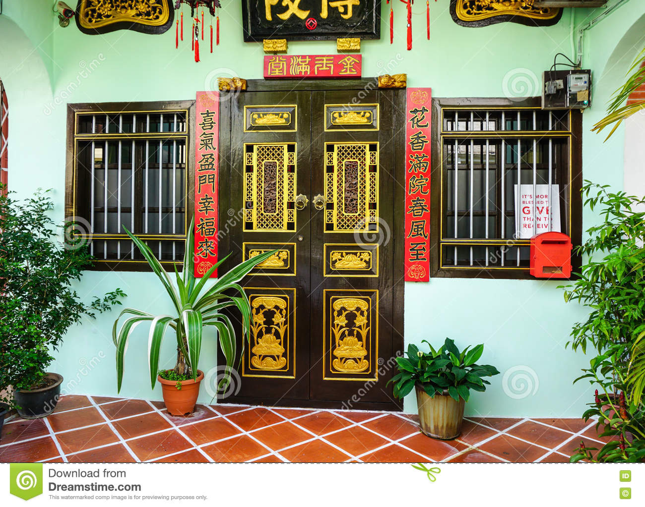 Facade of the old house in penang malaysia editorial for Classic house kl